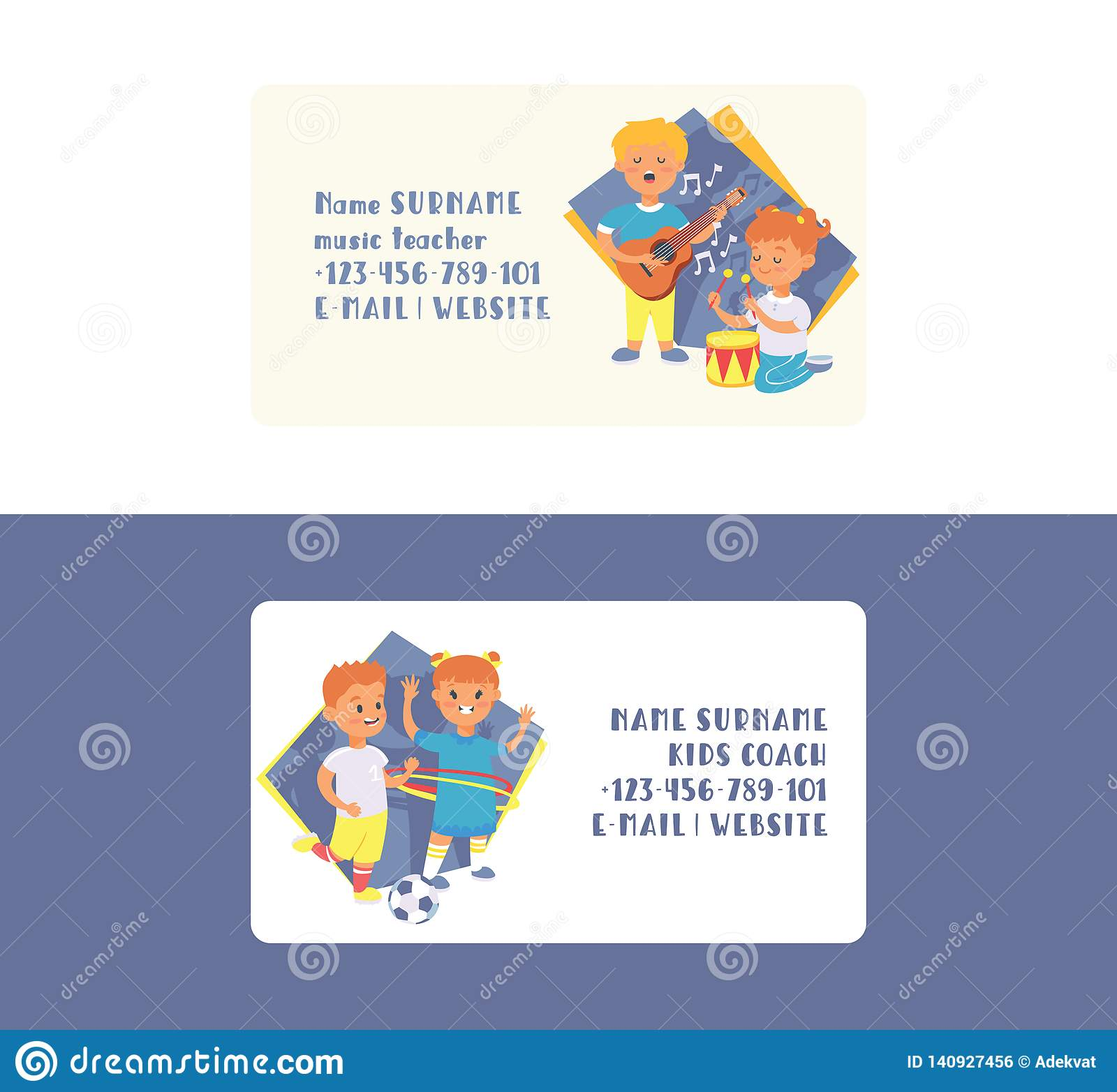 Kids vector business card cartoon girl boy characters children dancing or playing music on guitar and playing football