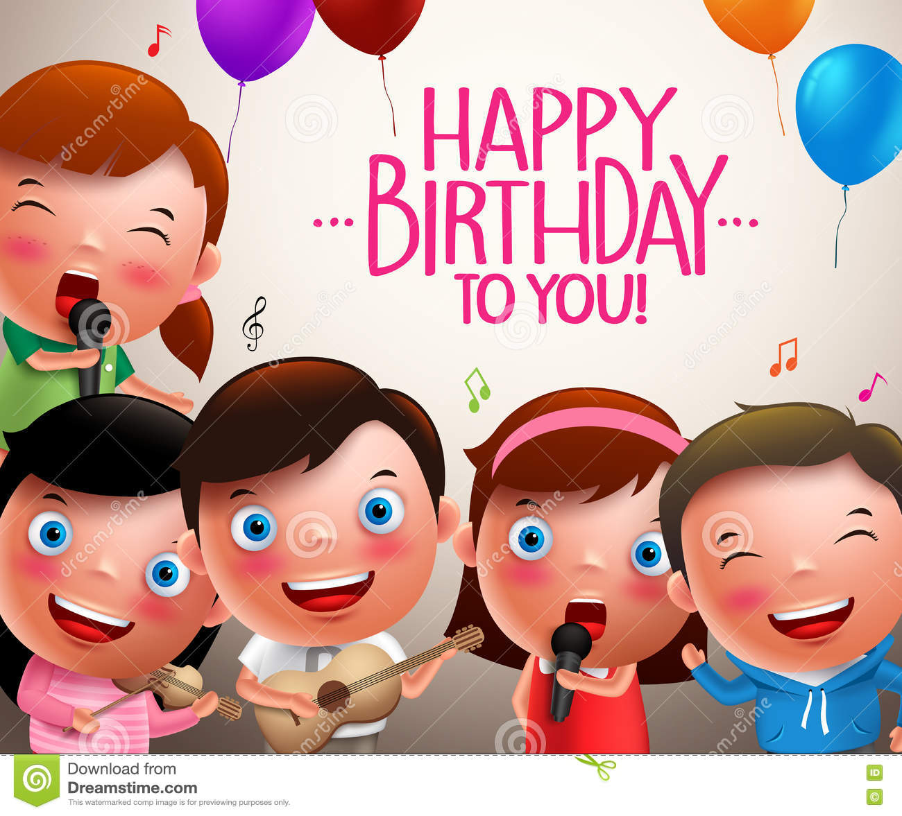 Kids Vector Characters Singing Happy Birthday And Happy