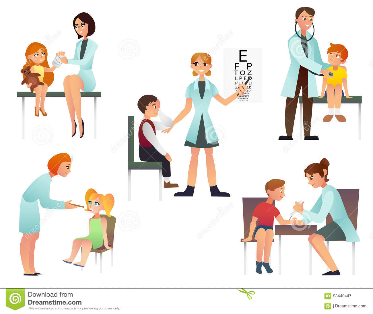 Download Kids Visit A Doctor Cartoon Flat Vector Illustration Pediatrician And Examine Patient