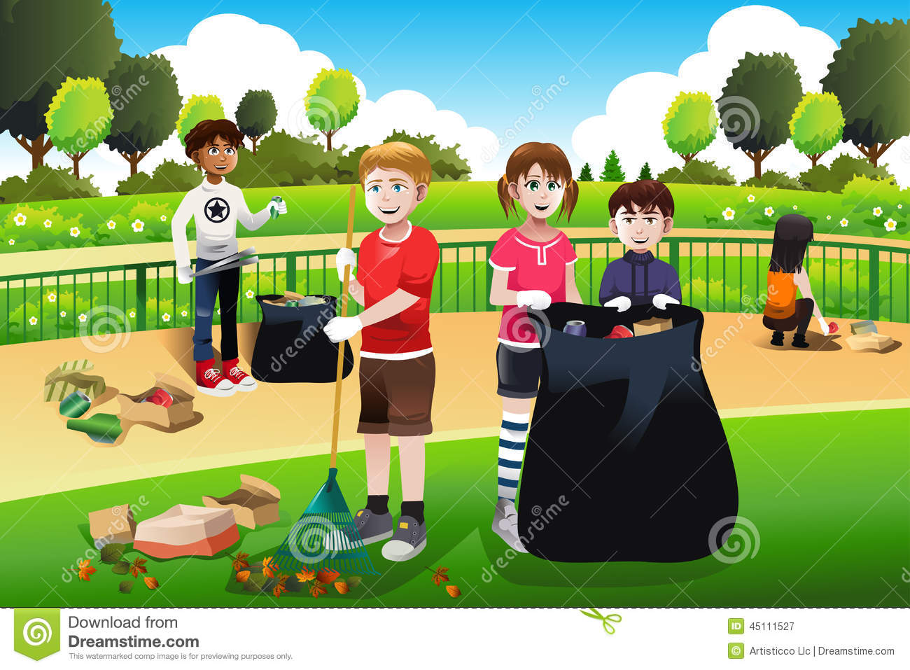 Kids Volunteering Cleaning Up The Park Stock Vector - Illustration
