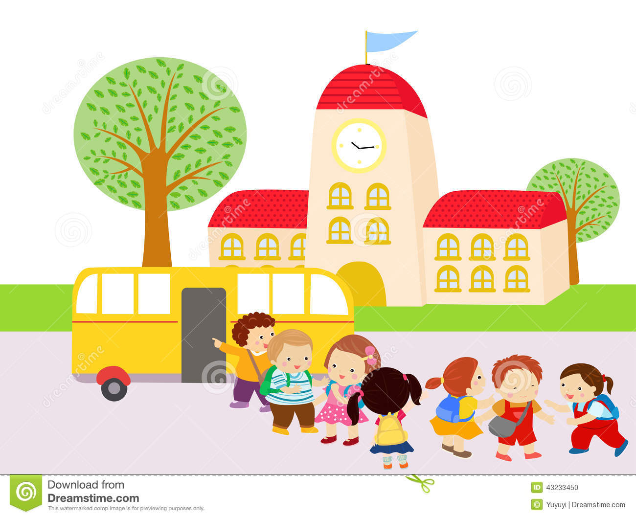 Kids Waiting To Get In The Bus Stock Vector - Illustration ...