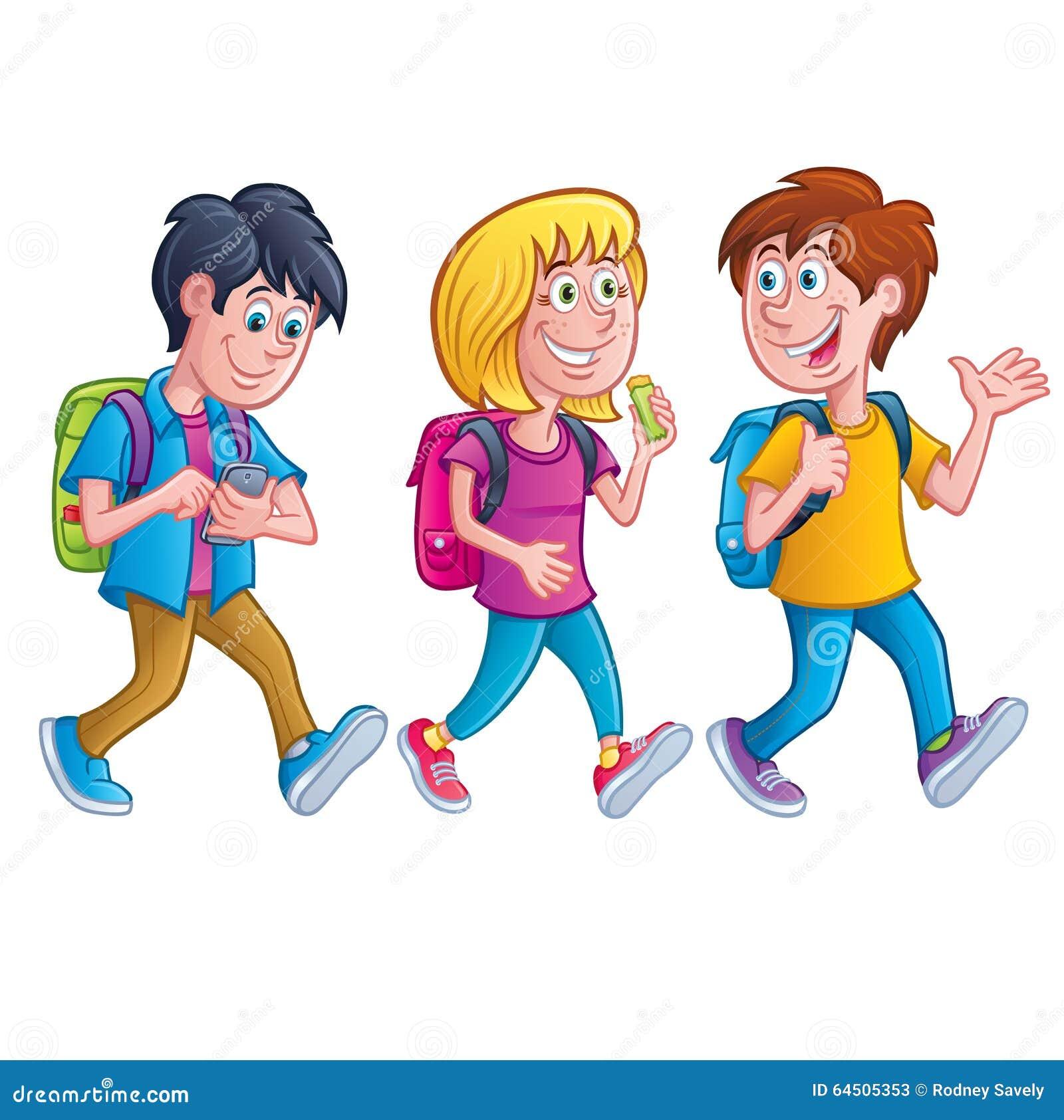 Kids Walking With Backpacks Stock Illustration