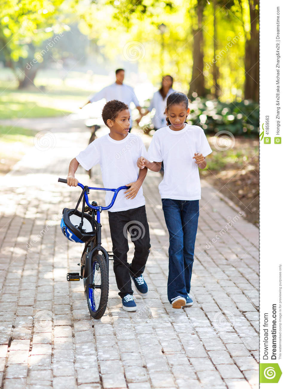 Family Playing Together Clipart Kids Walking Bike Stoc...