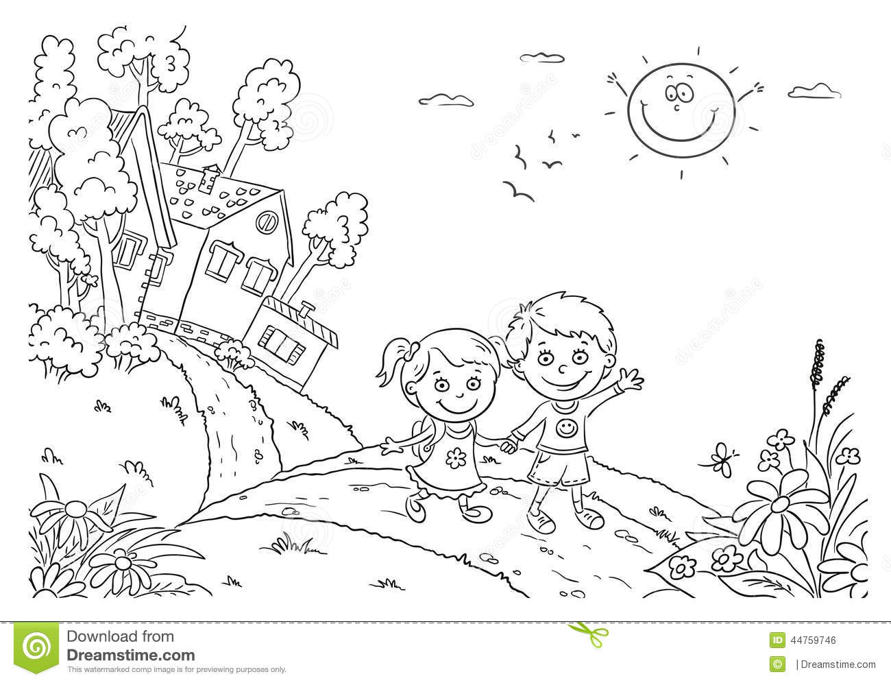 kids walking in the countryside stock vector image 44759746