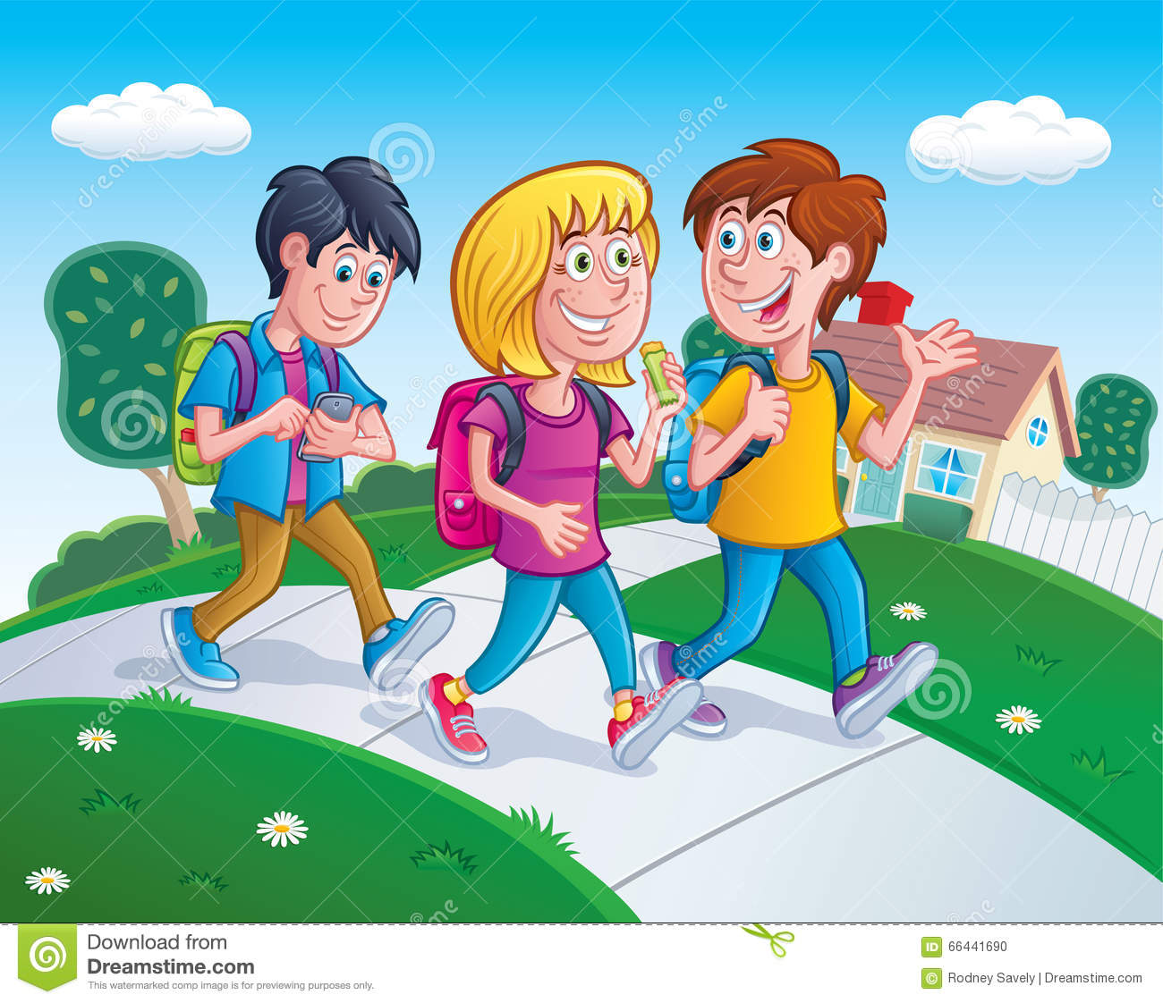 Kids Walking Home From School Stock Photo - Image of ...