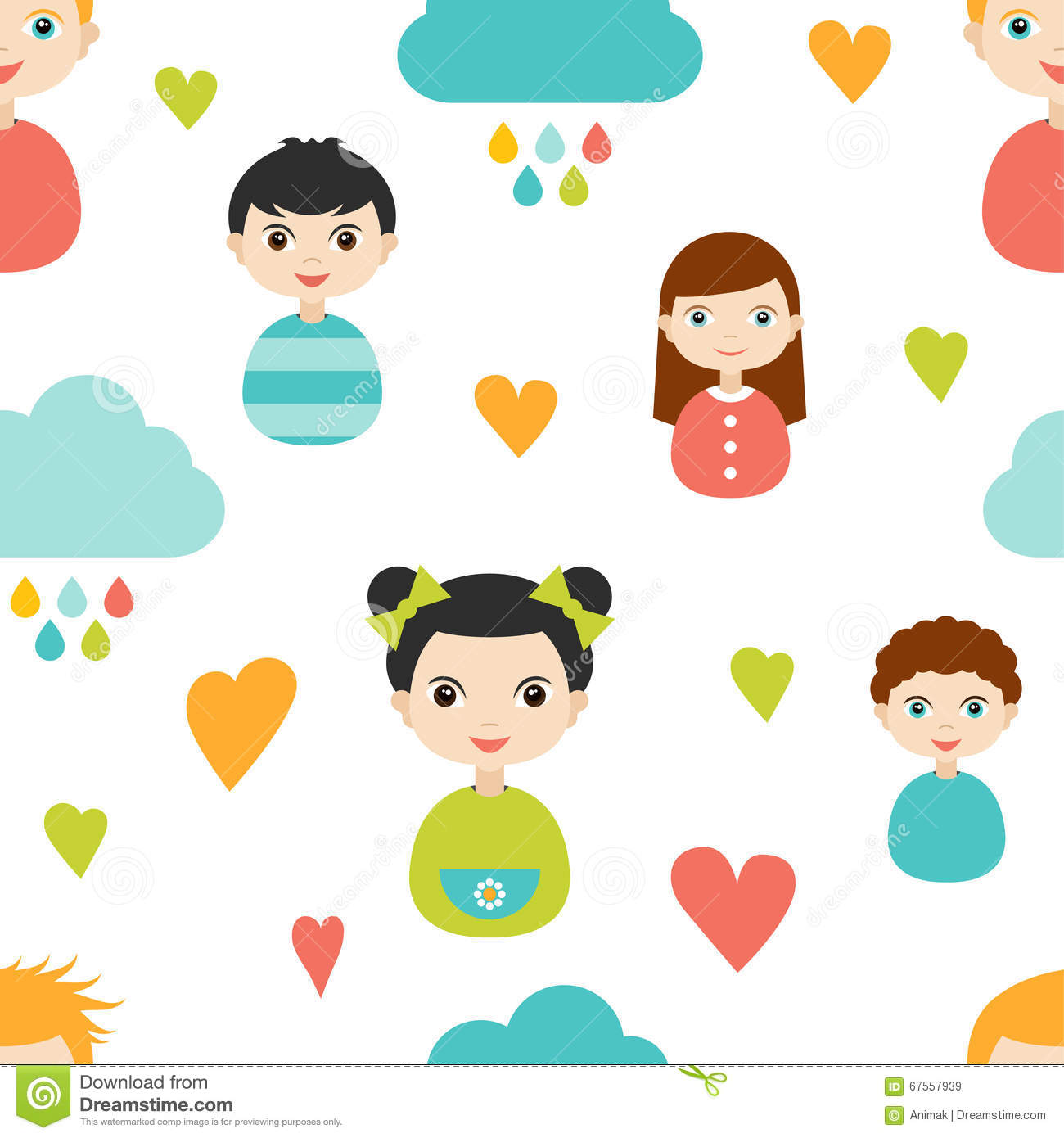 kids wall paper pattern color children smiling faces with heart