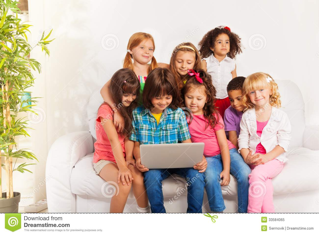 Kids Watch Movie From Laptop Royalty Free Stock Photo ...