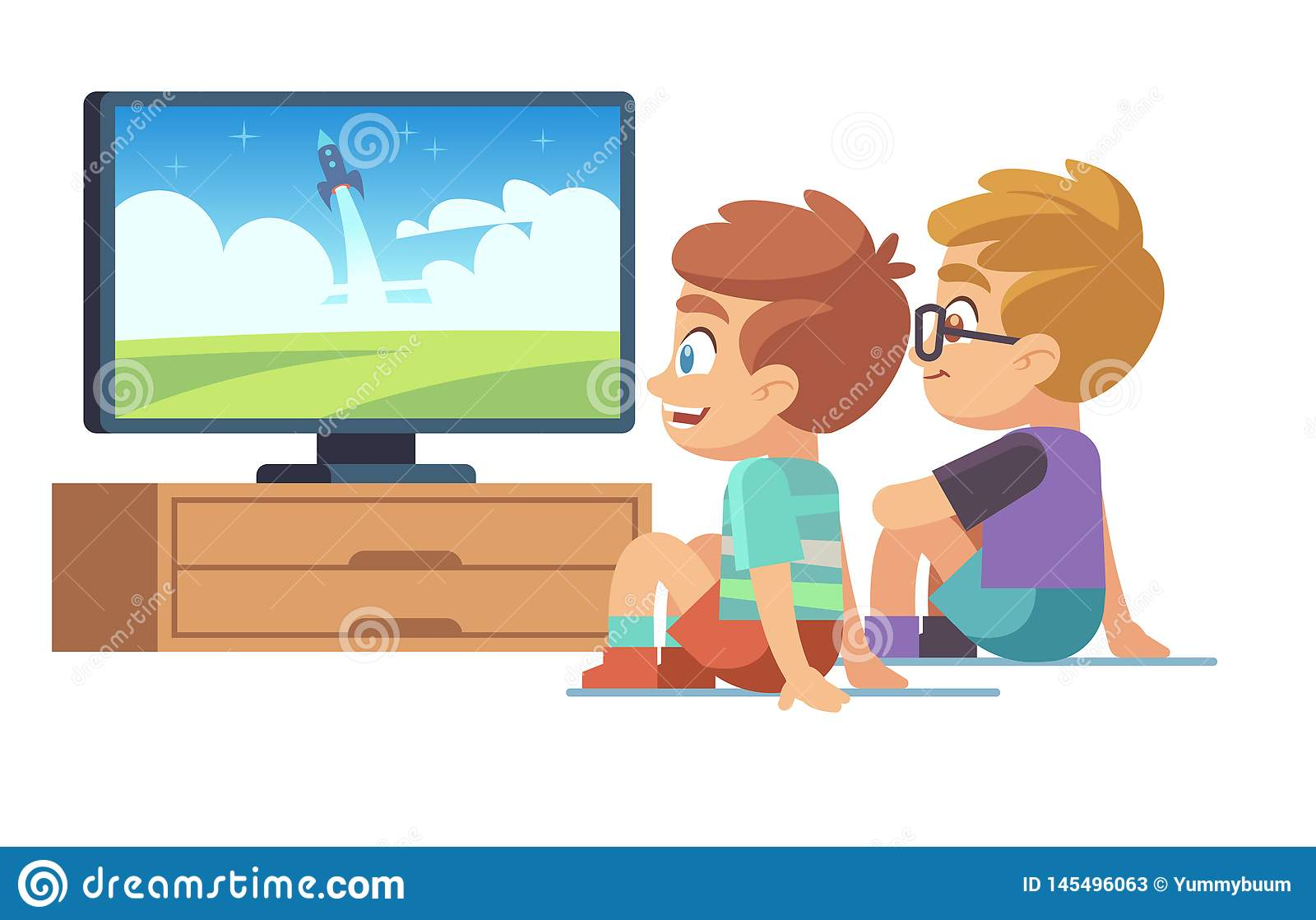 Kids watch tv. Children movie home boy girl watches tv set displaying picture screen character electric monitor cartoon