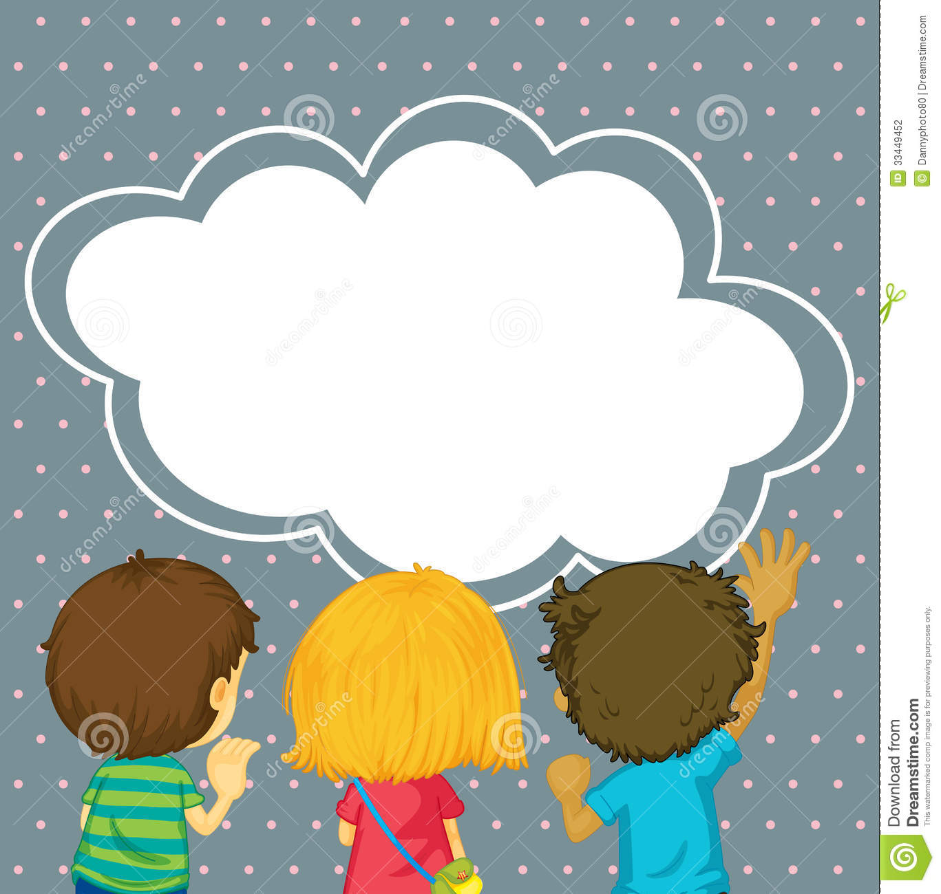 kids watching the empty cloud template stock photography image