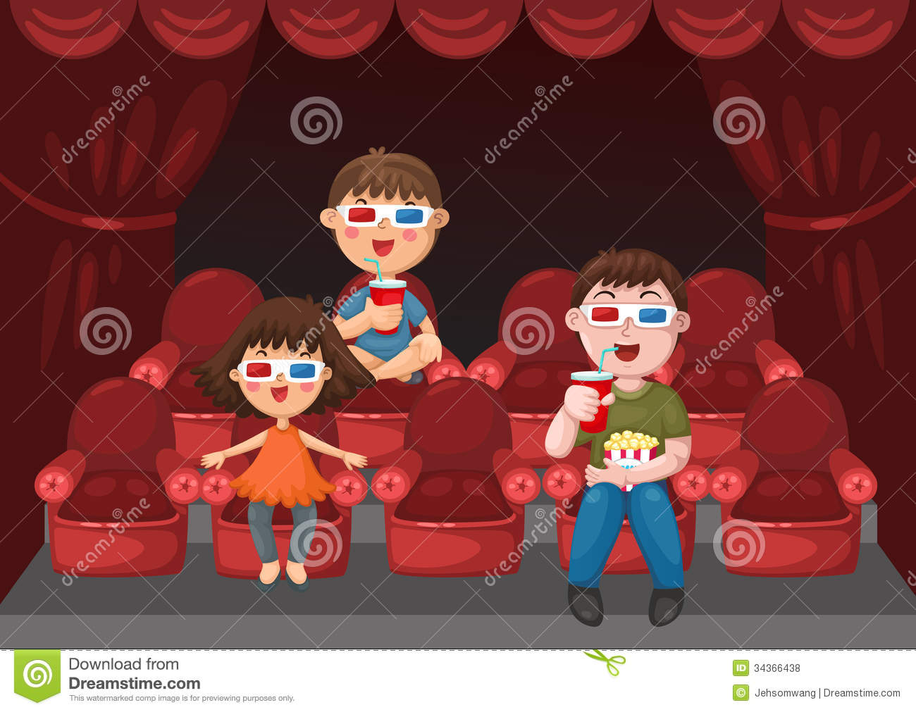 kids watching a movie stock vector illustration of classical 34366438