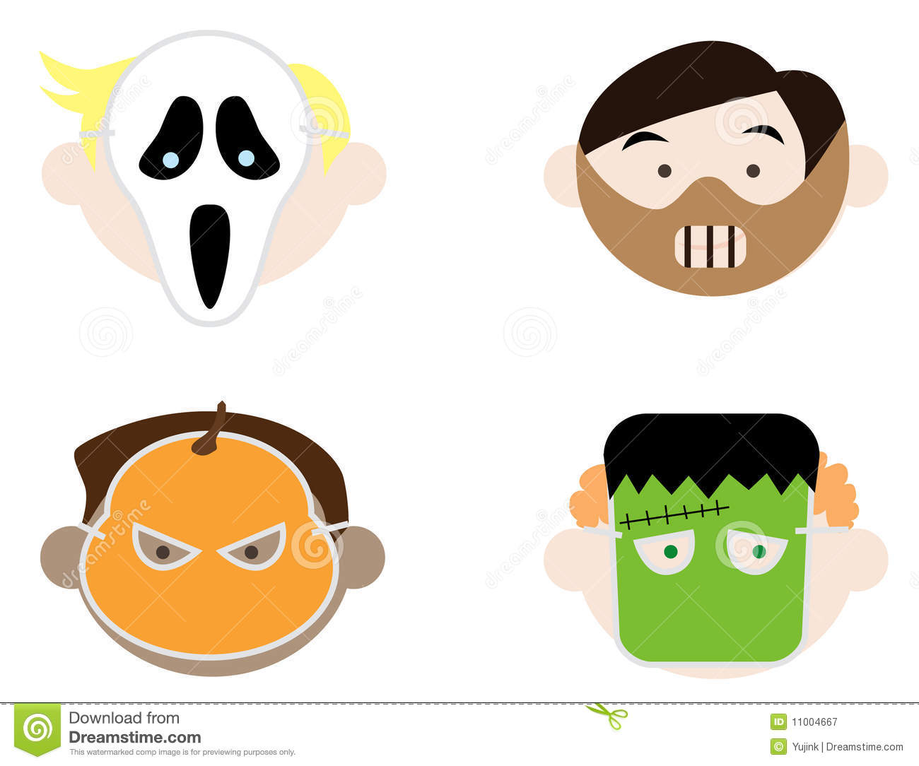 Kids Wearing Halloween Masks Royalty Free Stock Photography ...