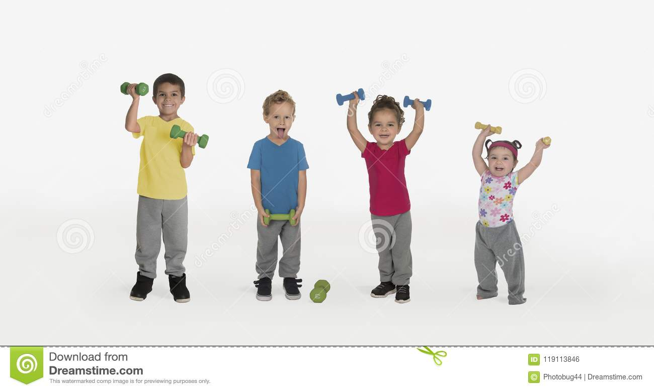 Kids with weights and one funny boy