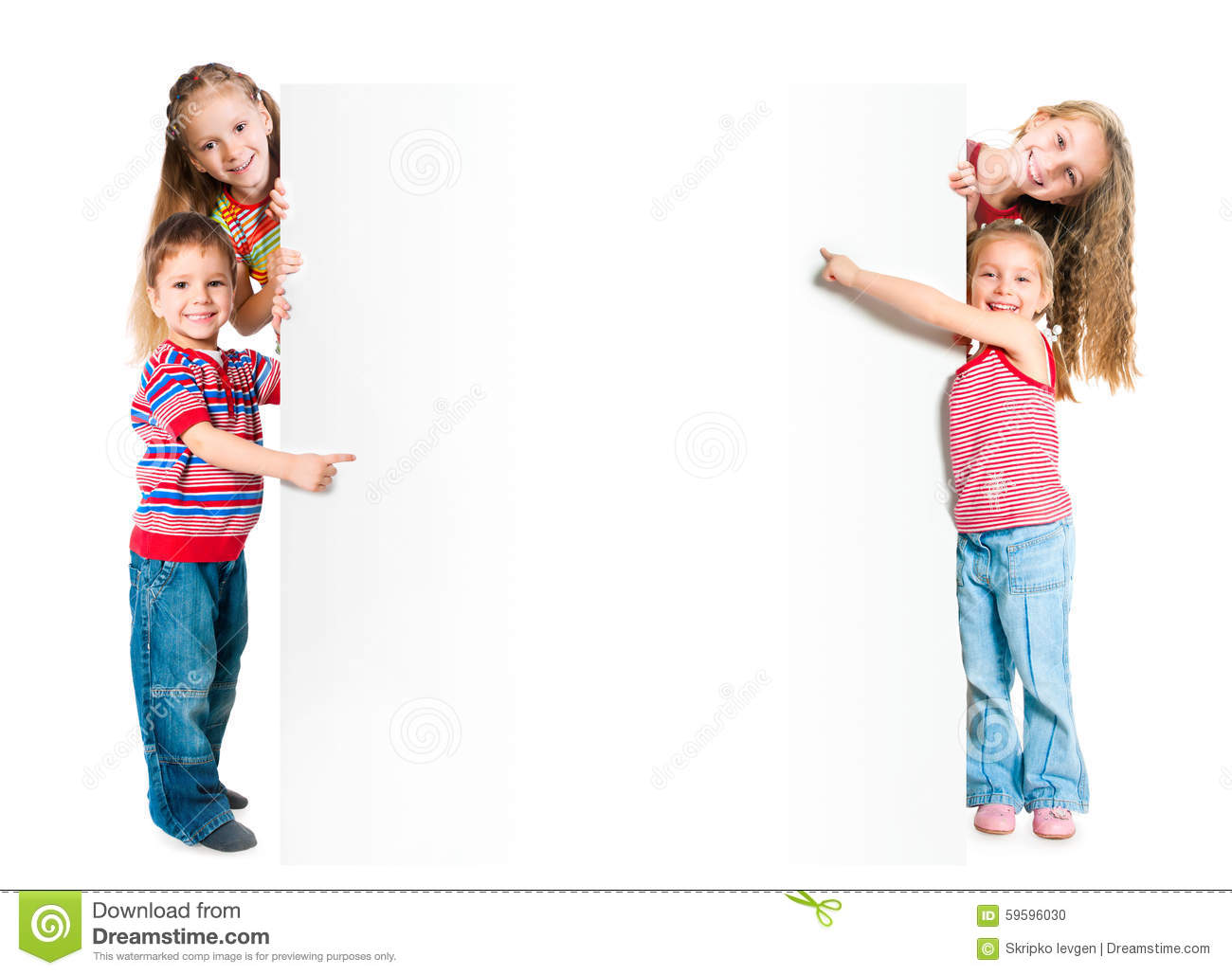Kids with white banner