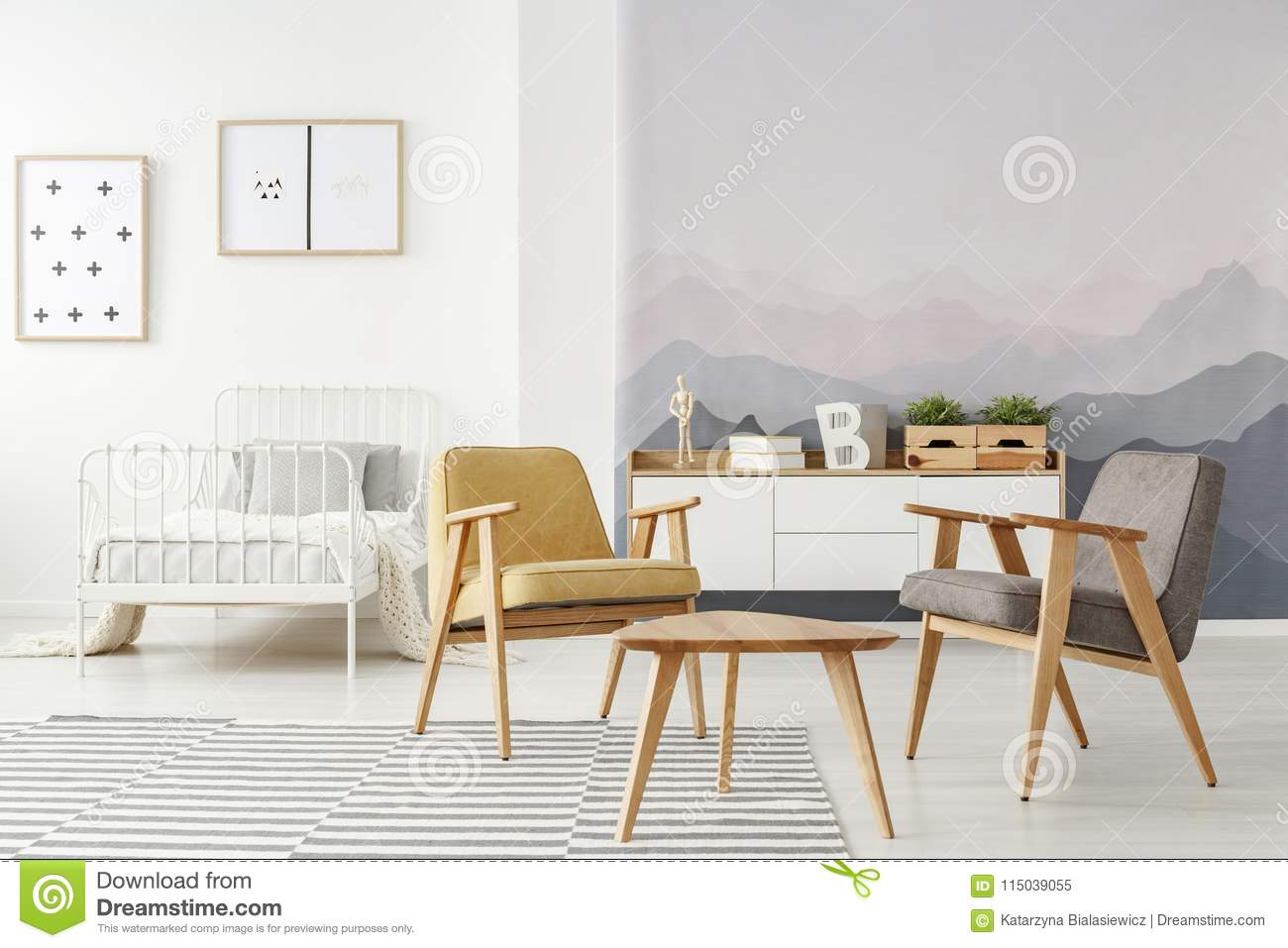 Kids Bedroom With Armchairs Stock Image - Image of armchairs ...