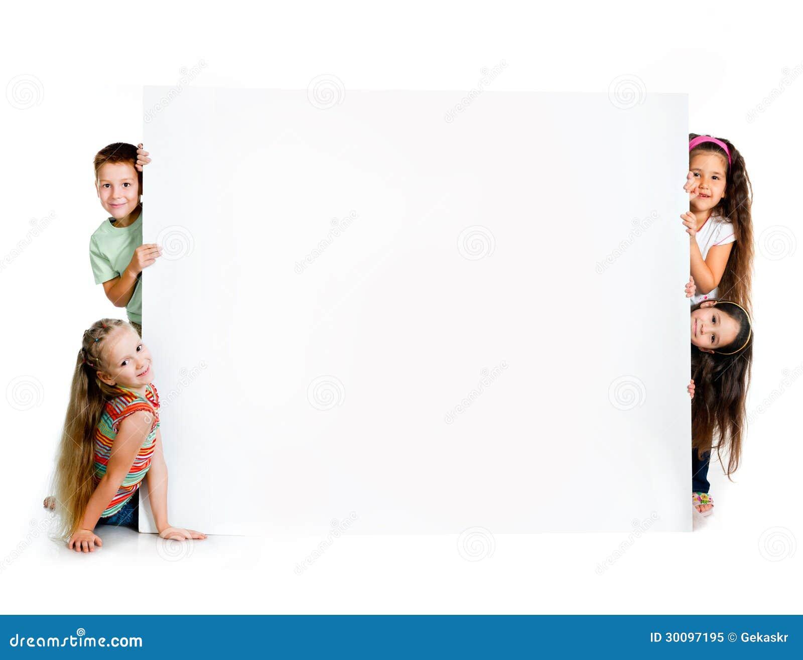 Girles beside a white blank