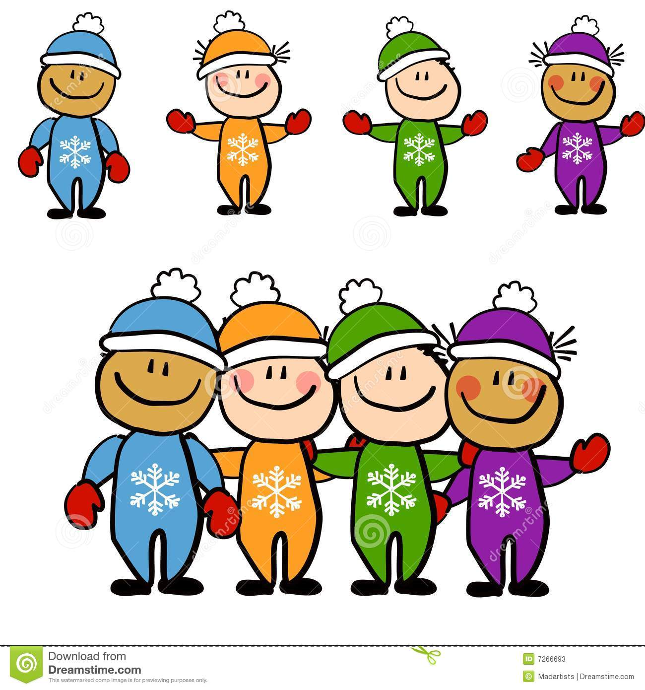kids in winter snowsuits stock photos   image 7266693