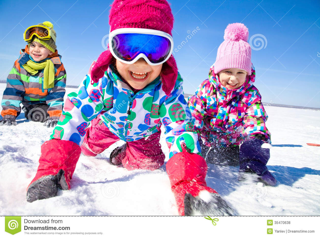 Kids in wintertime stock photo image of people friends for Warm winter family vacations