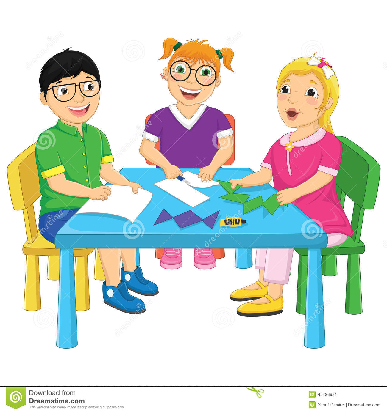 Kids Working On Table Vector Illustration Stock