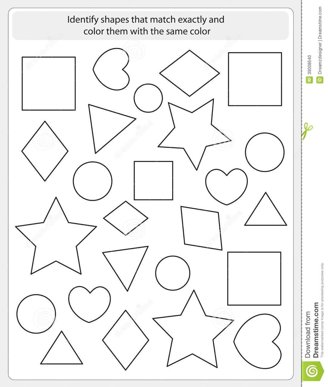 Kids Worksheet Match And Color Vector Image 39008640 – Kids Worksheet