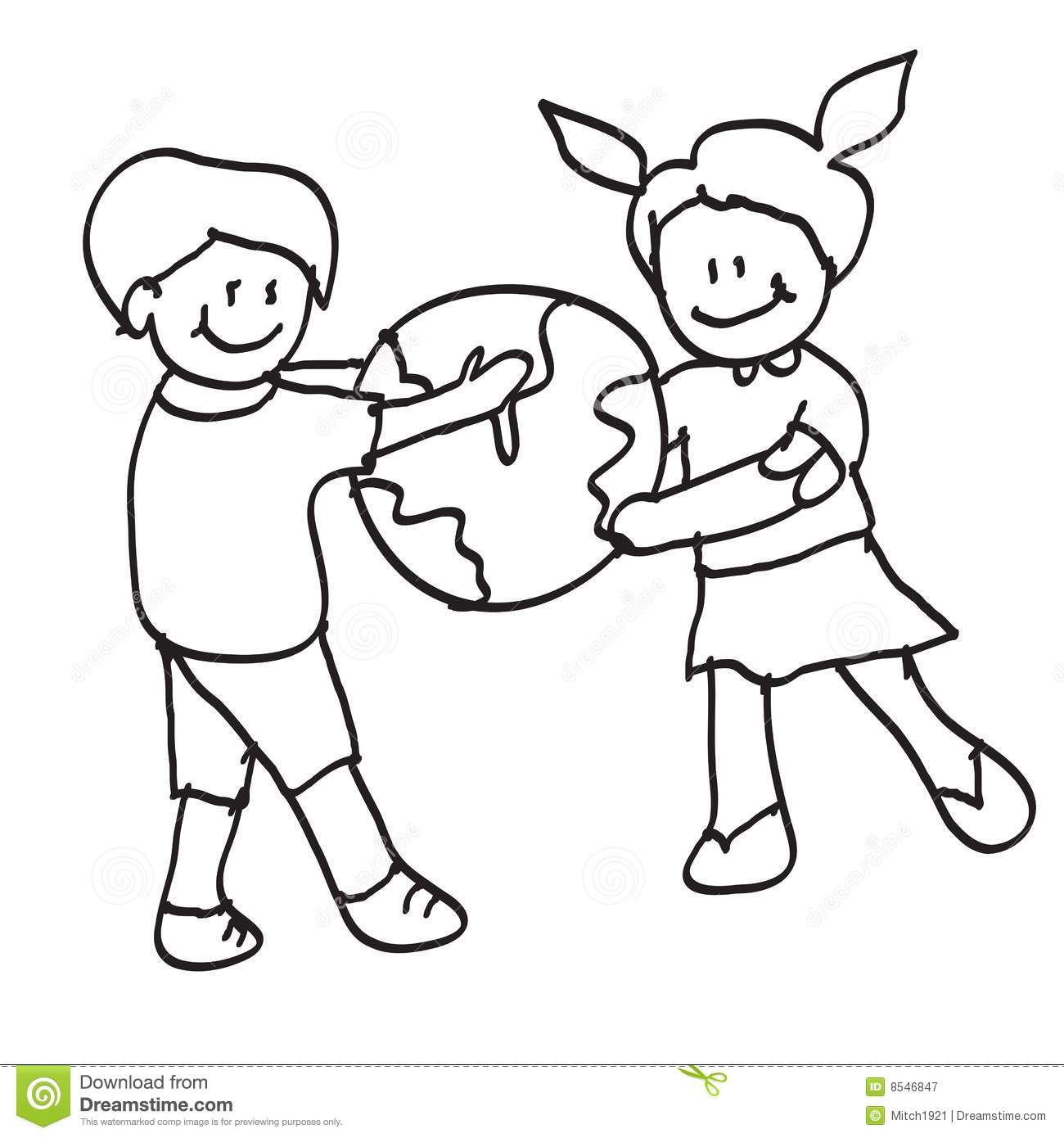 child outline coloring page - kids world royalty free stock photography image 8546847