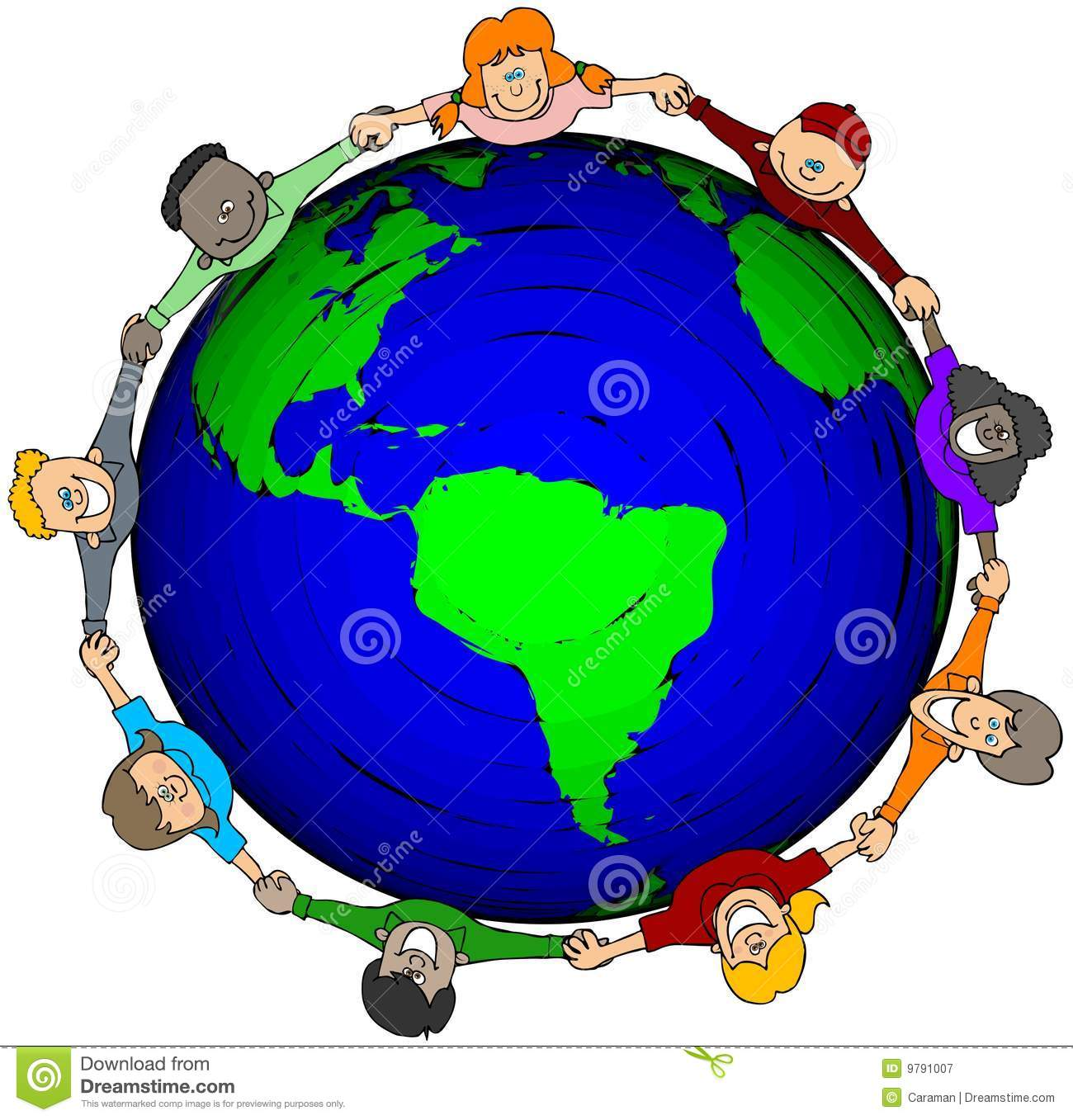 ... nine children holding hands around a large world globe and looking up