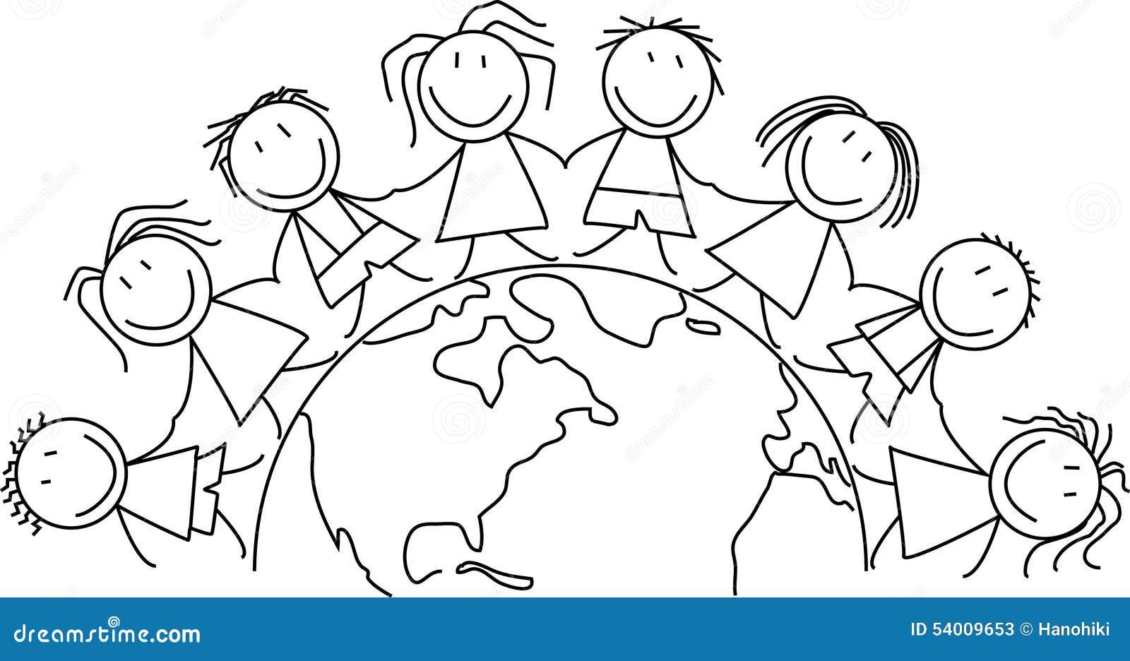 kids world  children on globe stock illustration  image