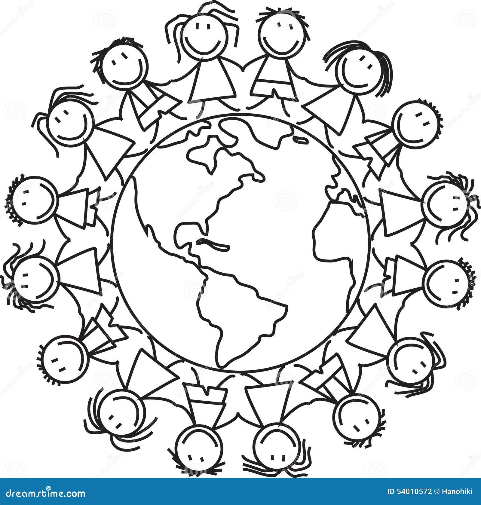 Kids World - Children On Globe Stock Illustration - Image: 54010572