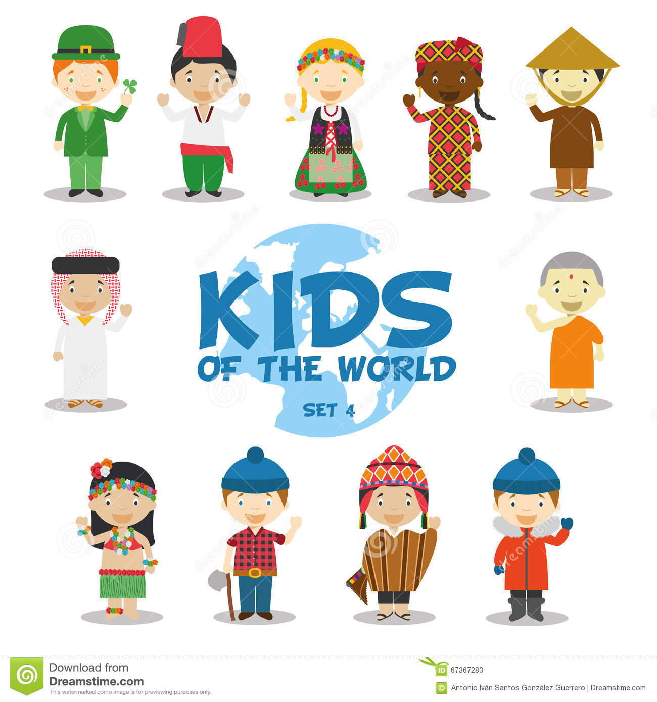 Kids of the world illustration: Nationalities Set 4. Set of 11 characters dressed in different national costumes