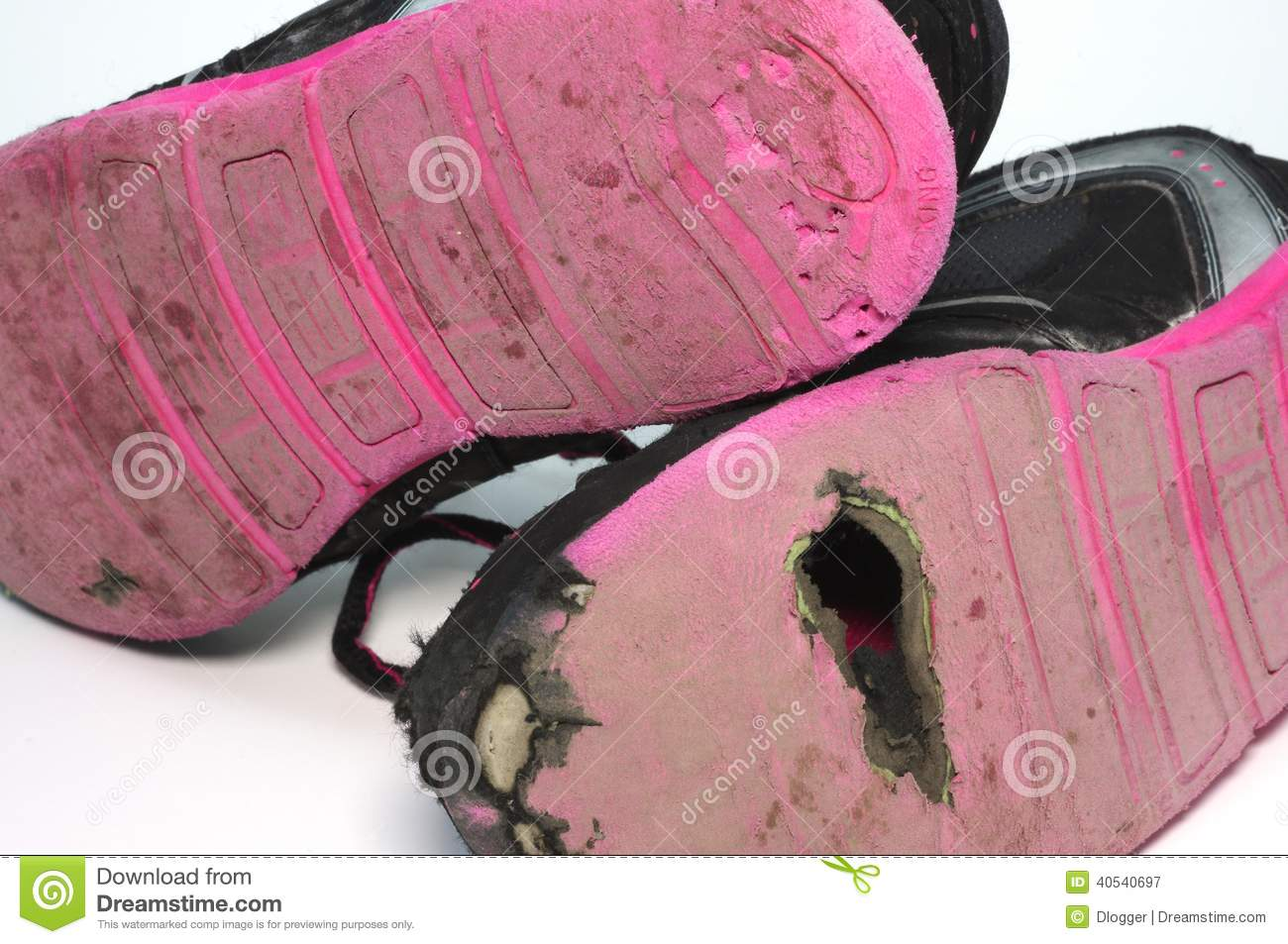 5f977f46a4af Kids worn out shoes. stock image. Image of tennis