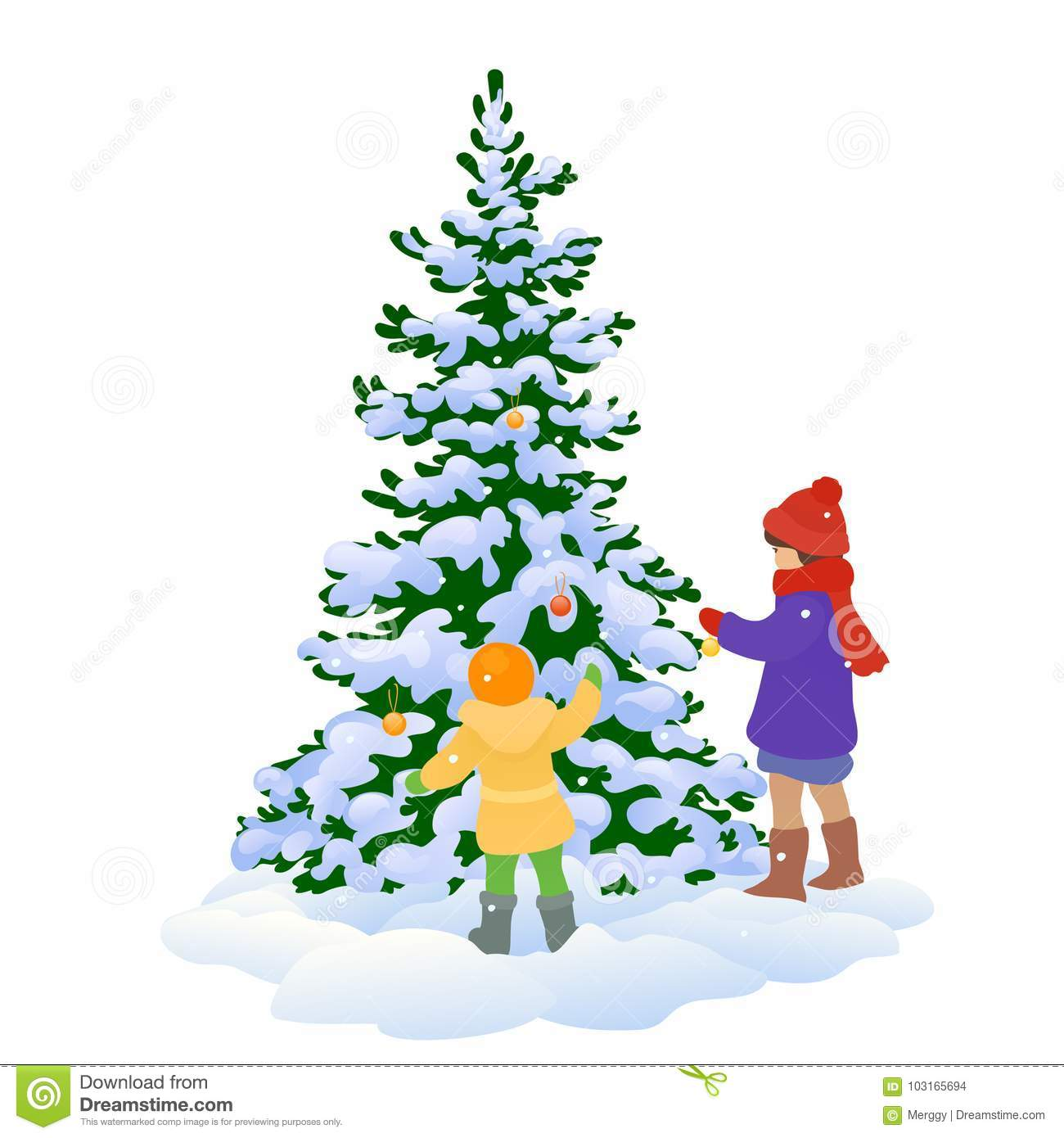 Kids And Xmas Tree Stock Vector Illustration Of Element 103165694