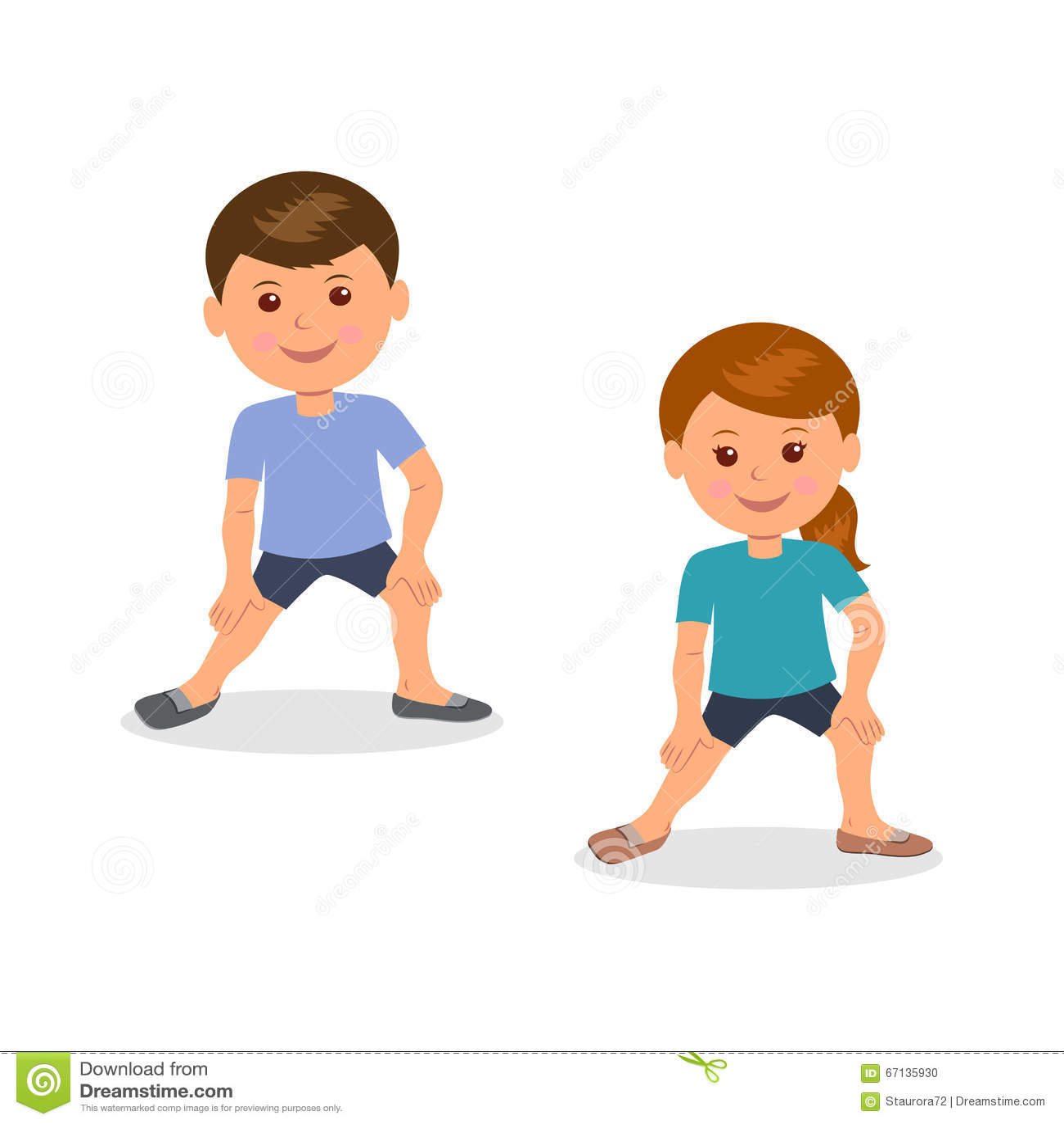Kids Yoga. Boy And Girl Standing Perform Gymnastic ...