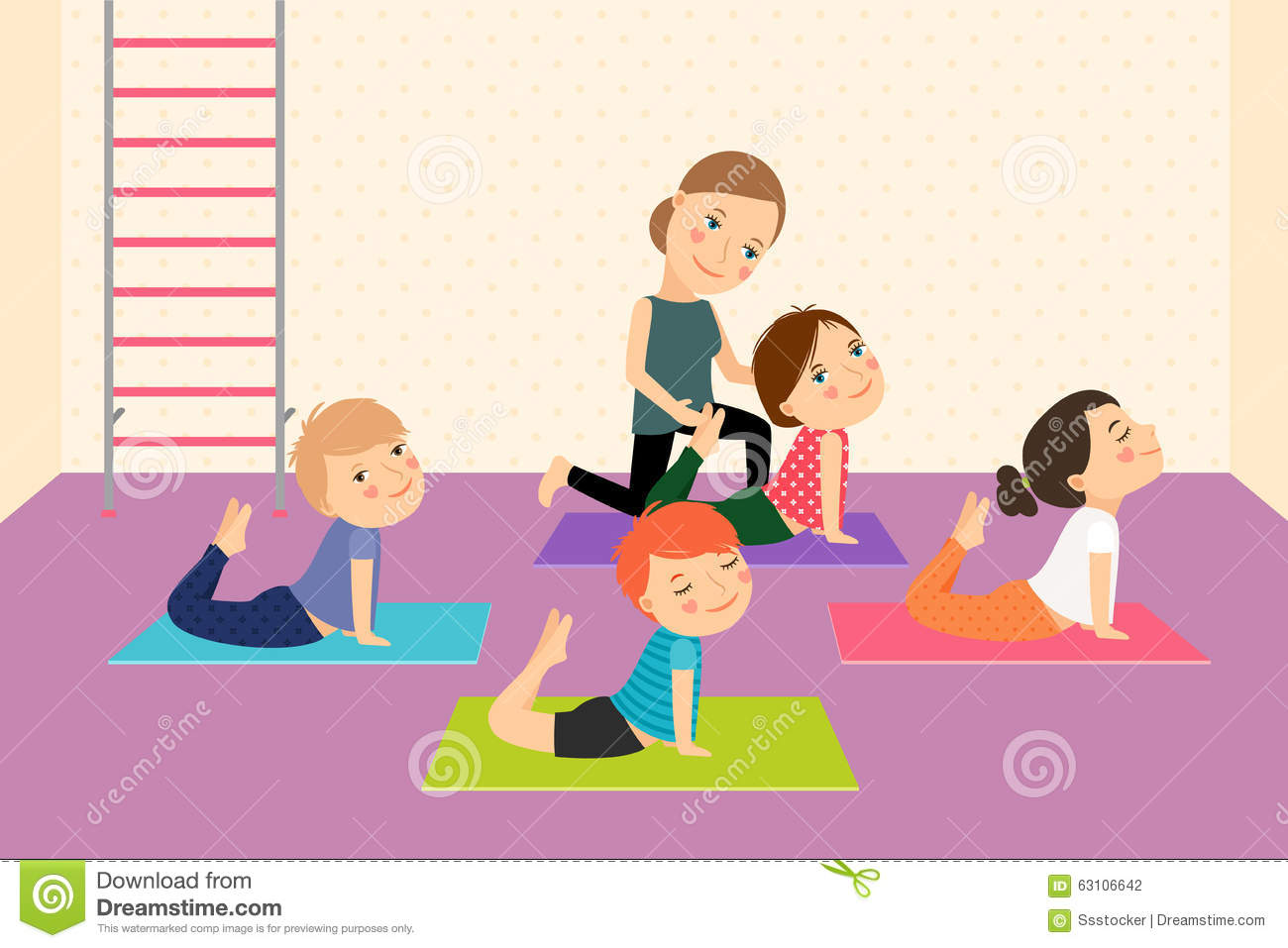 Kids Yoga With Instructor Stock Vector