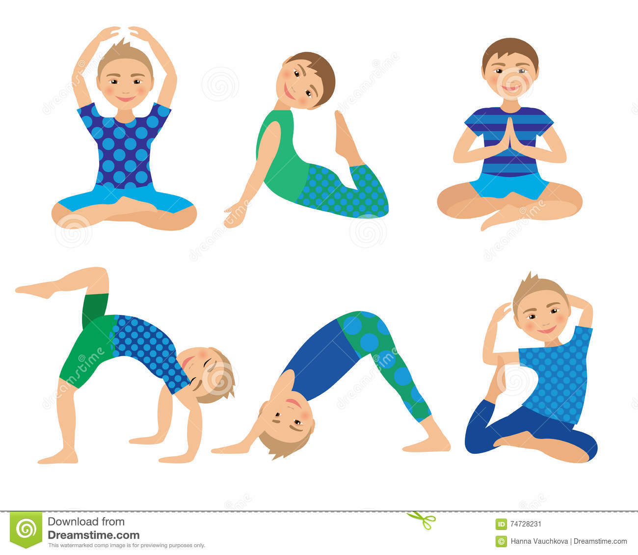 Kids Yoga Poses Vector Illustration Child Doing Exercises