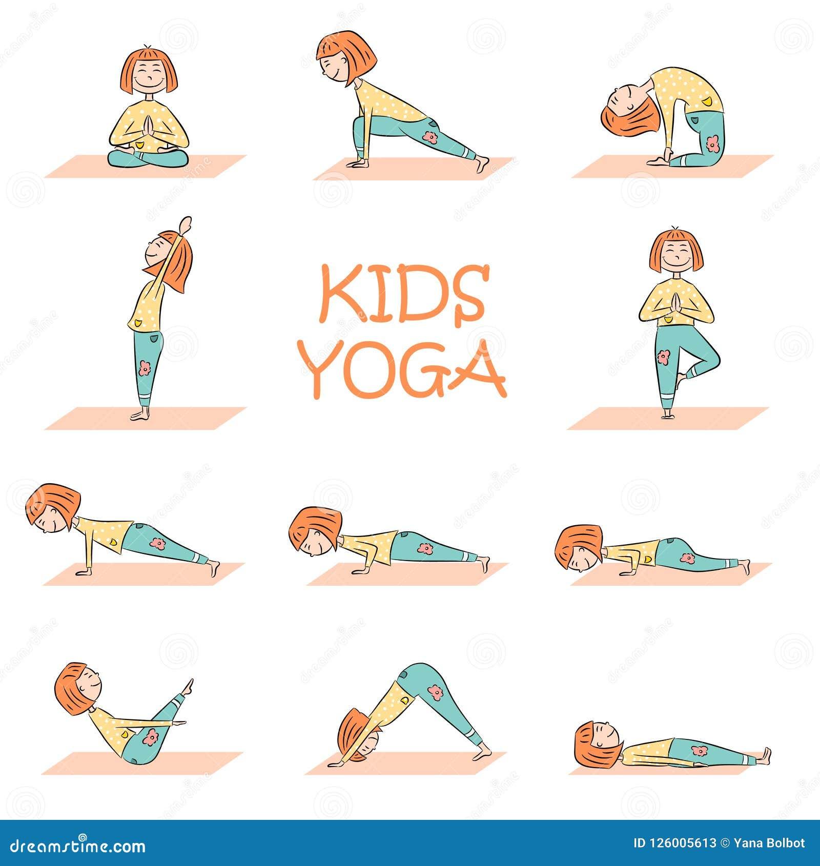 Kids Yoga Set With Cute Cartoon Girl Stock Vector - Illustration