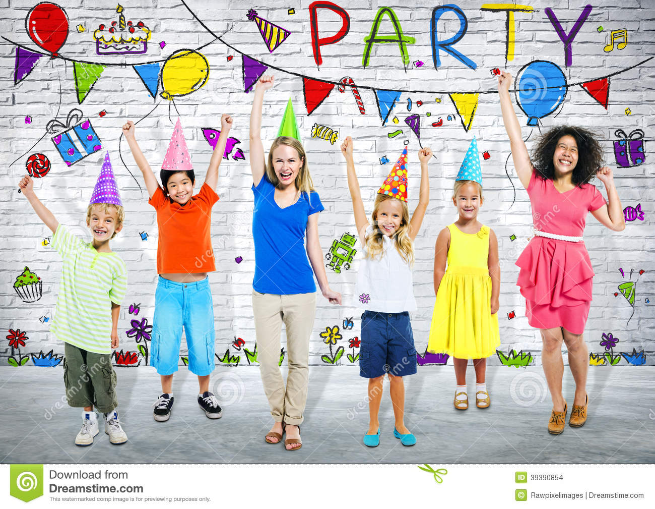 Kids And Young Adult In Birthday Party Stock Photo Image