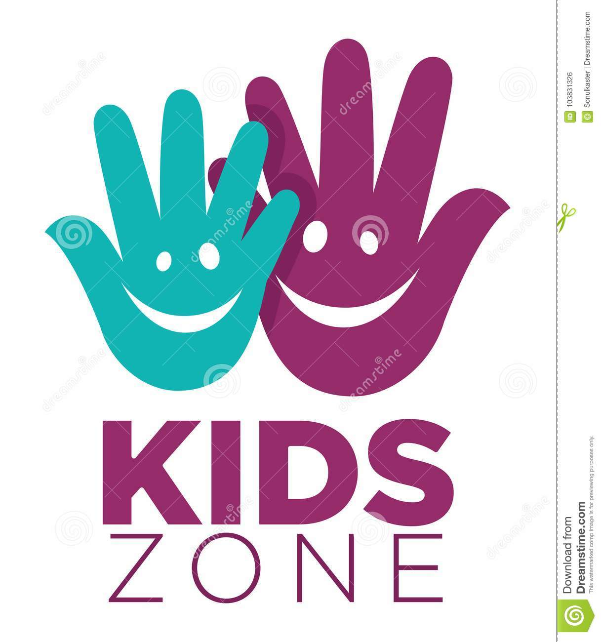 Kid Zone Playground Or Children Education Classroom Vector Letters ...
