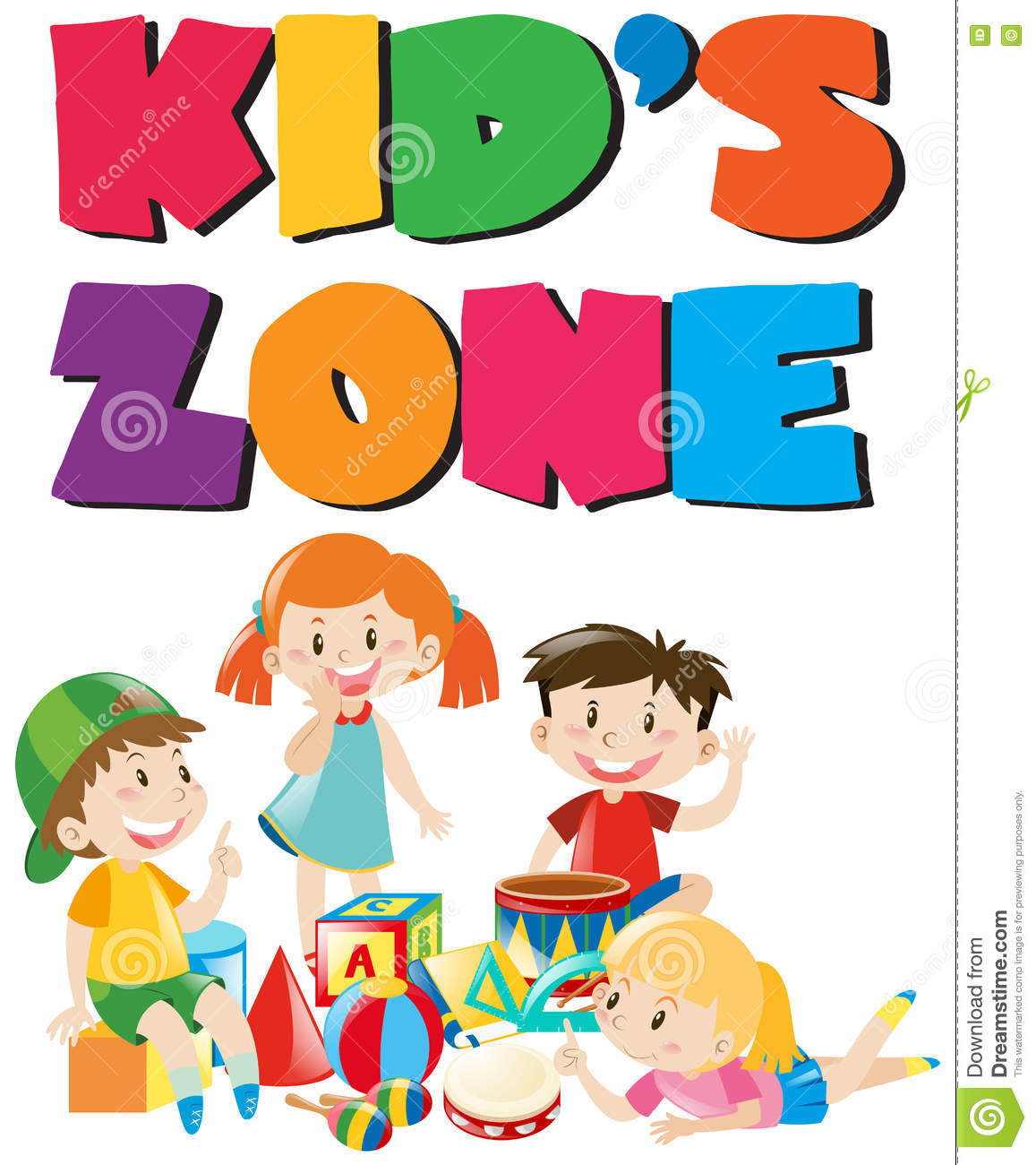 Kids Zone Poster With And Toys Stock Vector