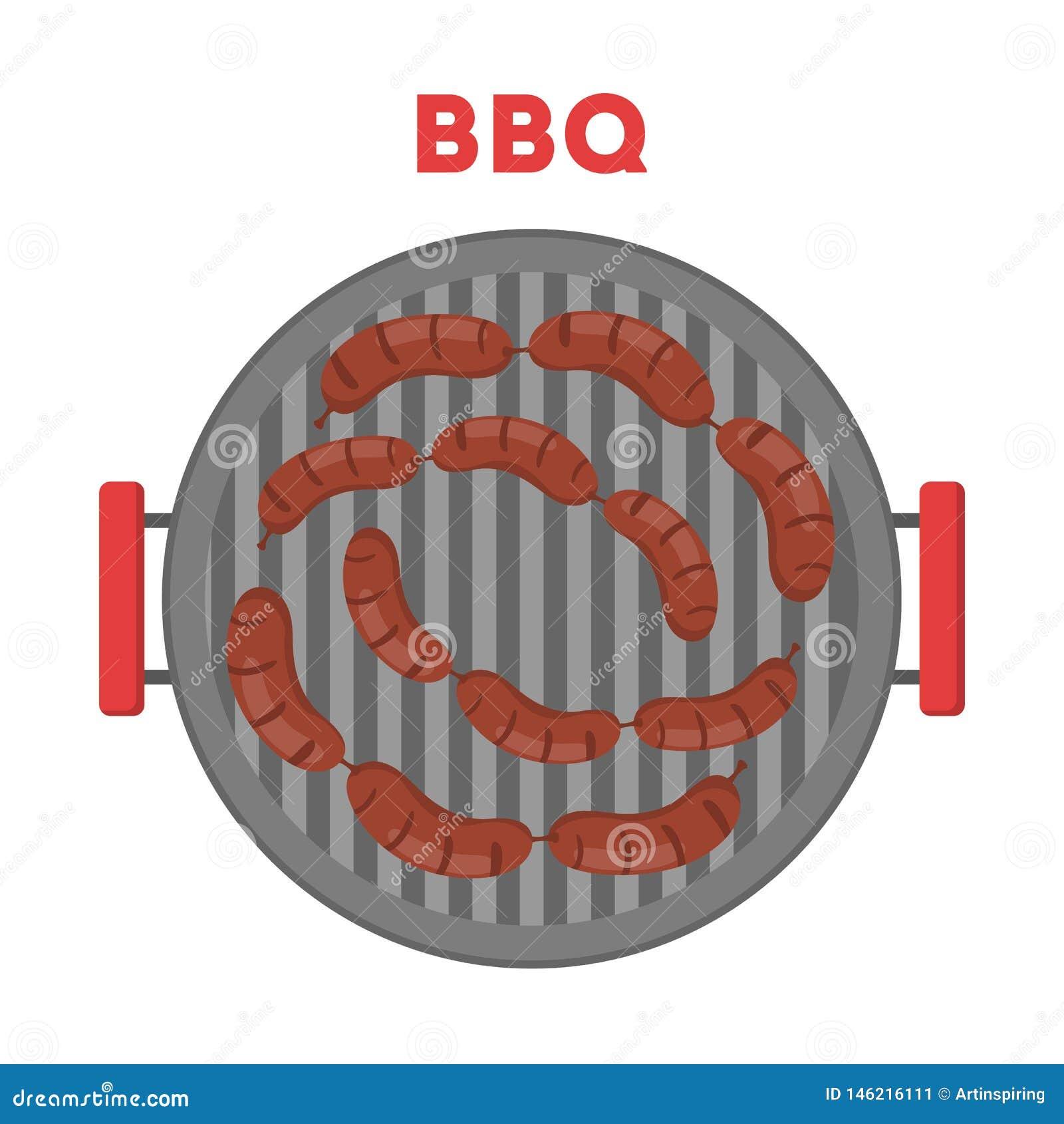 Kiełbasa na BBQ girll Kulinarny jedzenie grill