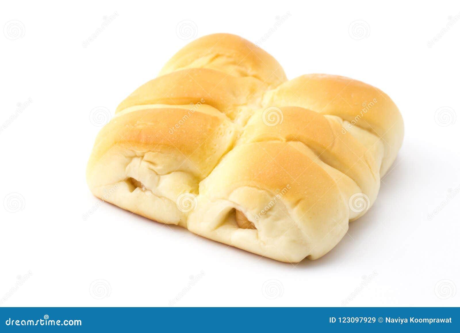 Kiełbasiani babeczka chleby odizolowywali białego tło