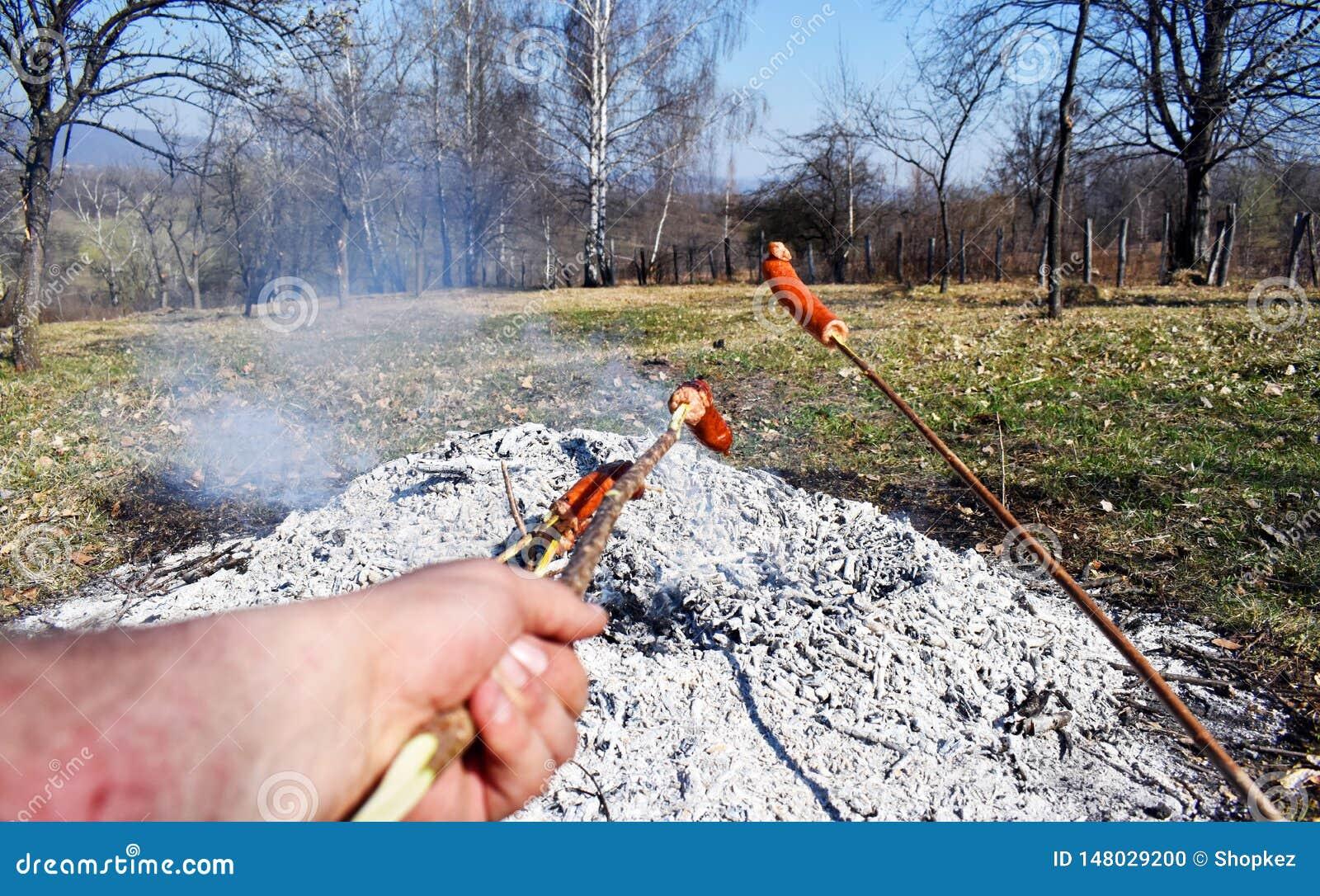Kie?basiani skewers ogrzewaj? i przygotowywaj? piec na grillu na dodatku specjalnego wolnym ogieniu przez d?ugi czas je?? jako ro