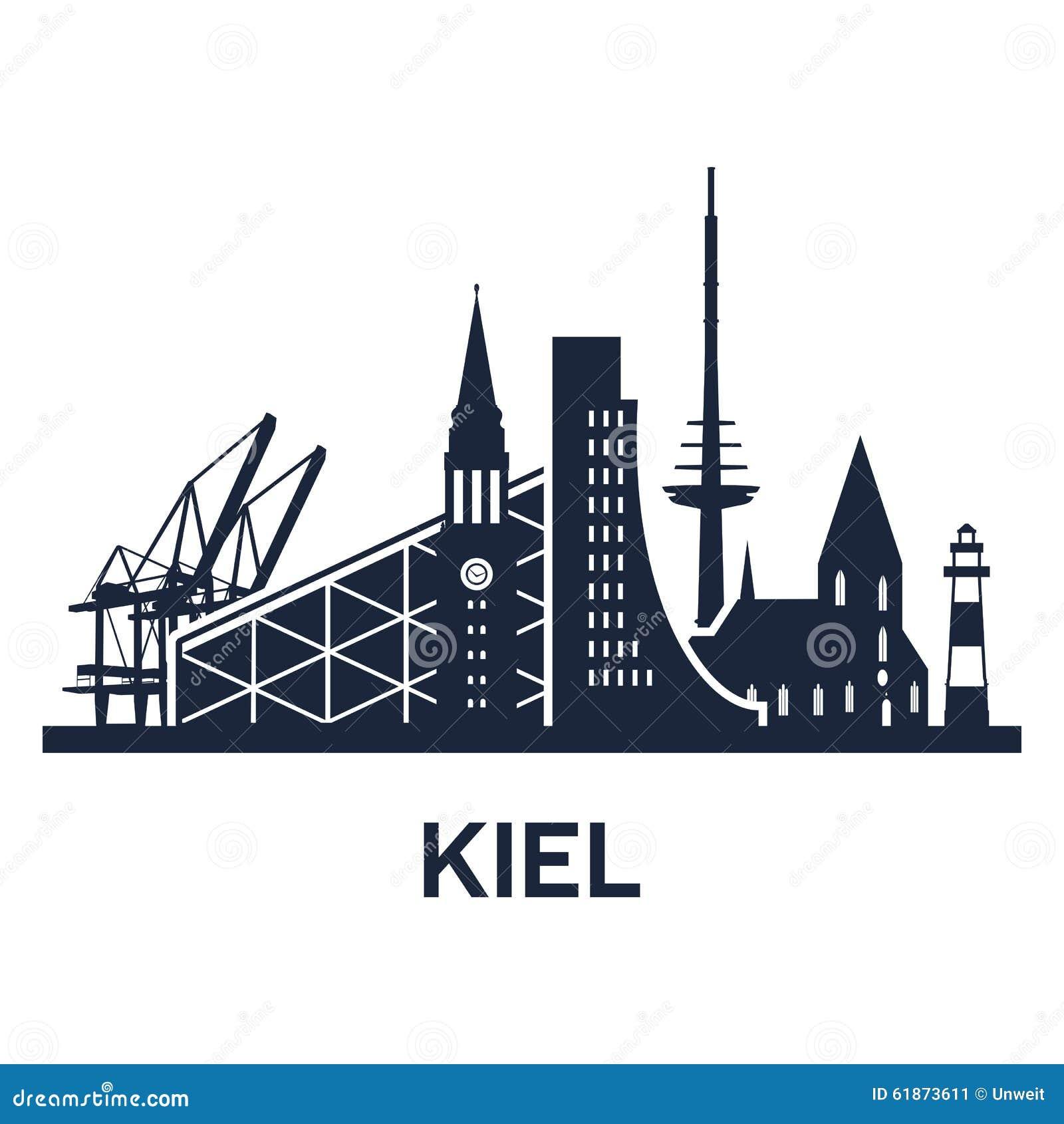 kiel city skyline vektor abbildung illustration von. Black Bedroom Furniture Sets. Home Design Ideas