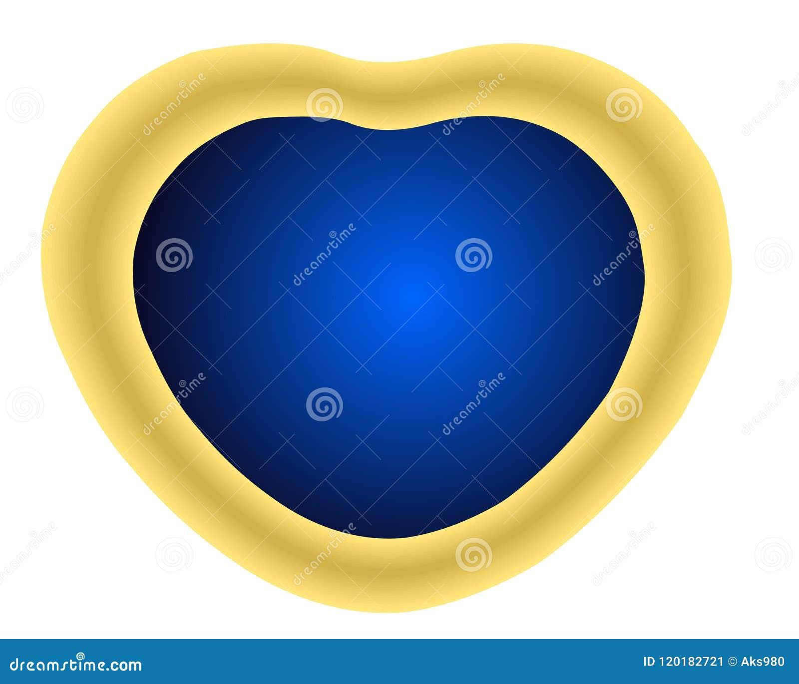 Kierowego kształta Złoty medalion z błękitnym krystalicznym klejnotu kamieniem odizolowywającym przeciw białej tła 3D wektoru ilu