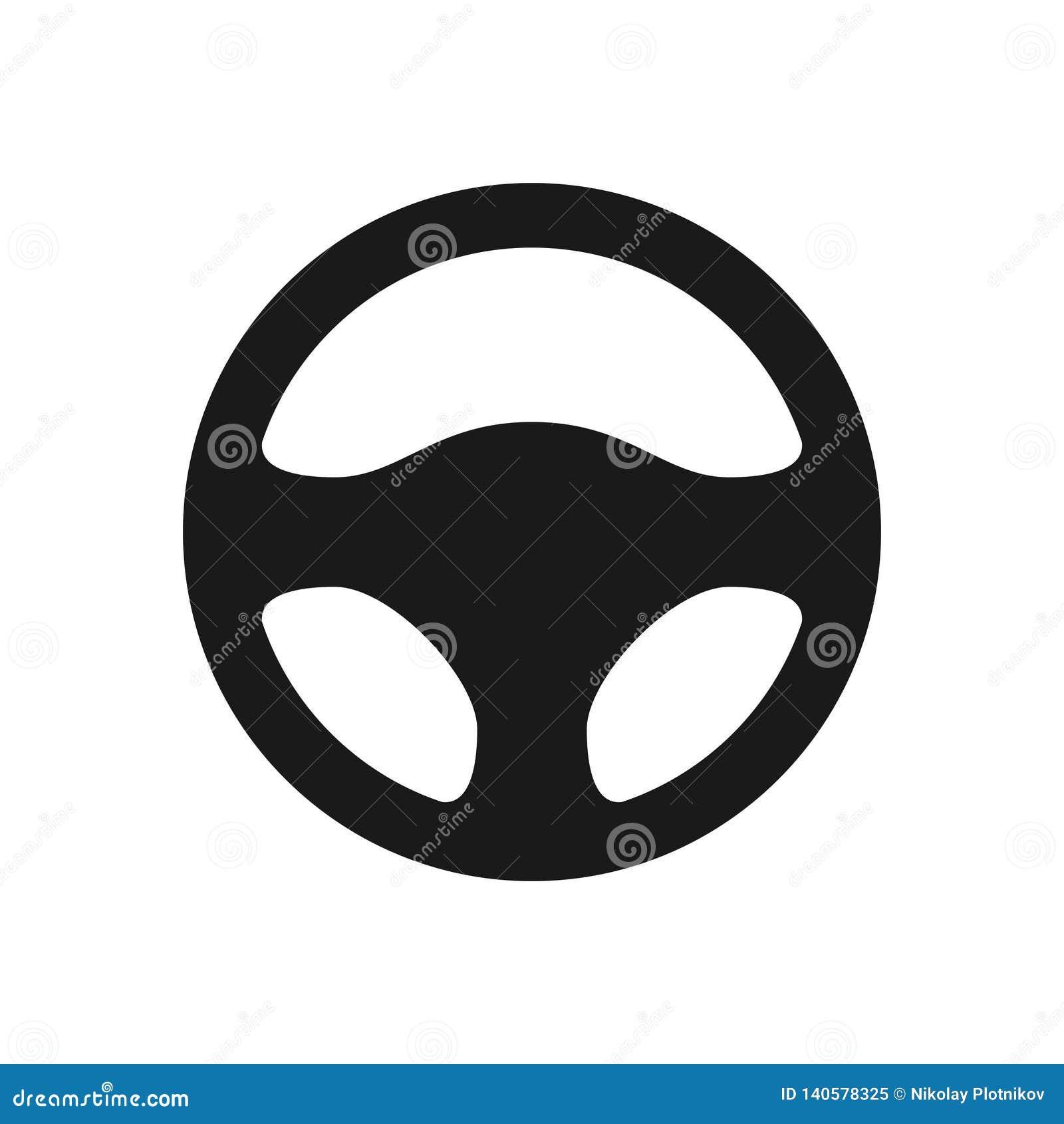 Kierownicy ikona odizolowywająca na białym tle Samochodowego koła kontroli sylwetka, Czarny auto części jeżdżenie w mieszkanie st