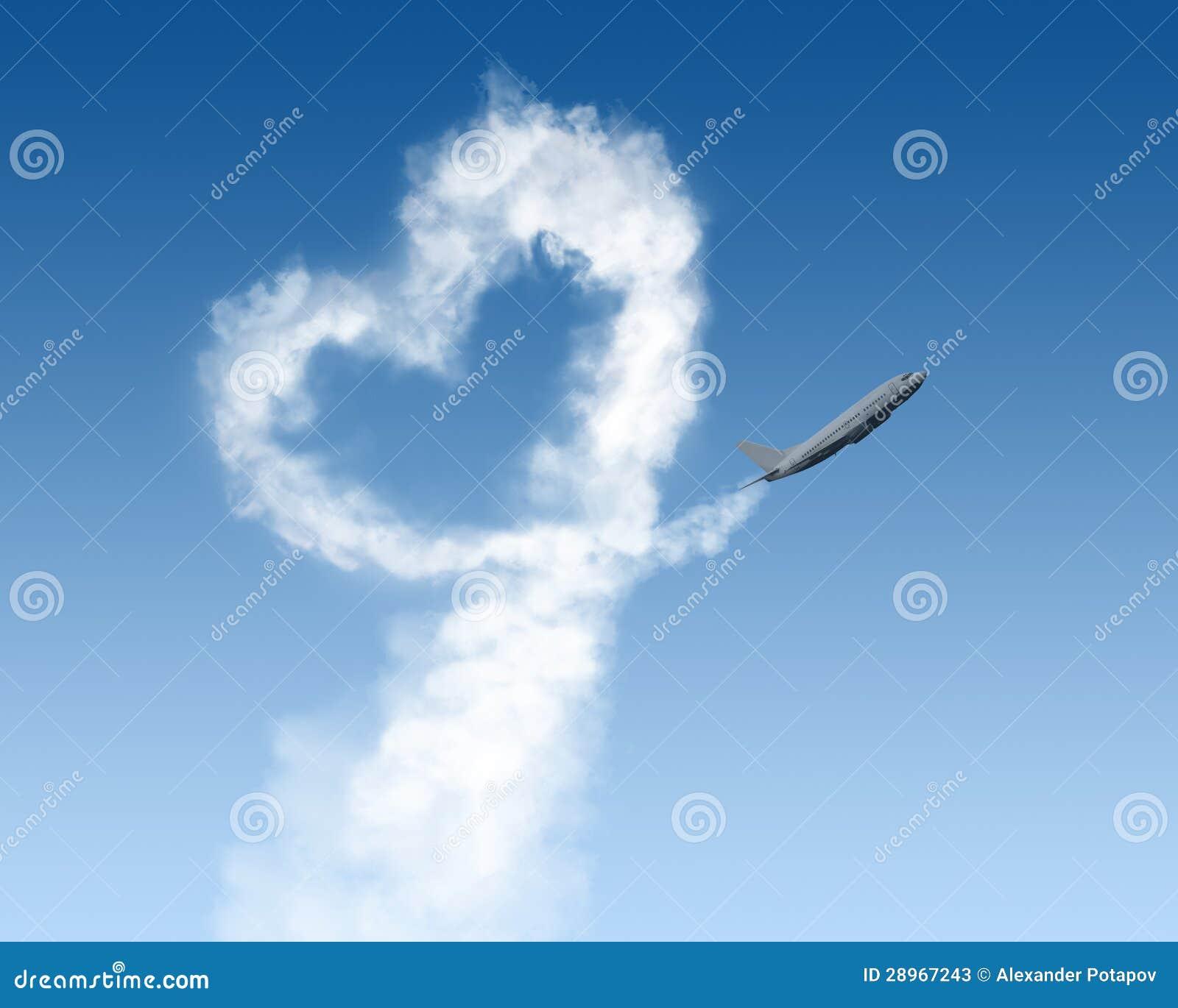 Kierowy kształta ślad od samolotu na błękicie