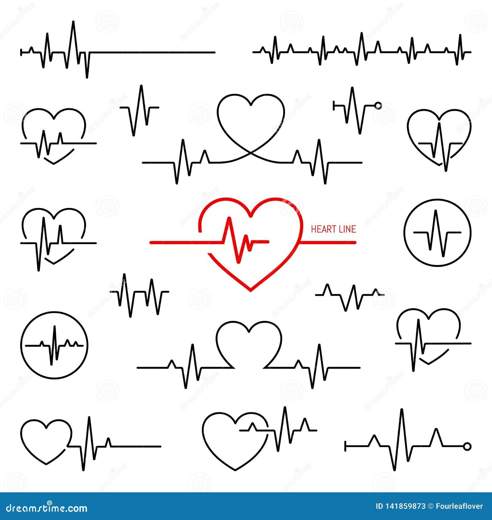 Kierowy rytmu set, elektrokardiogram, ECG - EKG sygnał