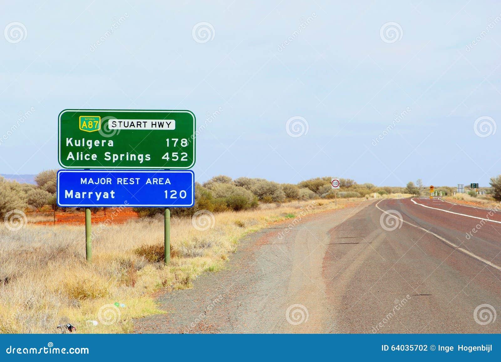 Kierunkowskaz Kulgera i Alice Springs, Australia