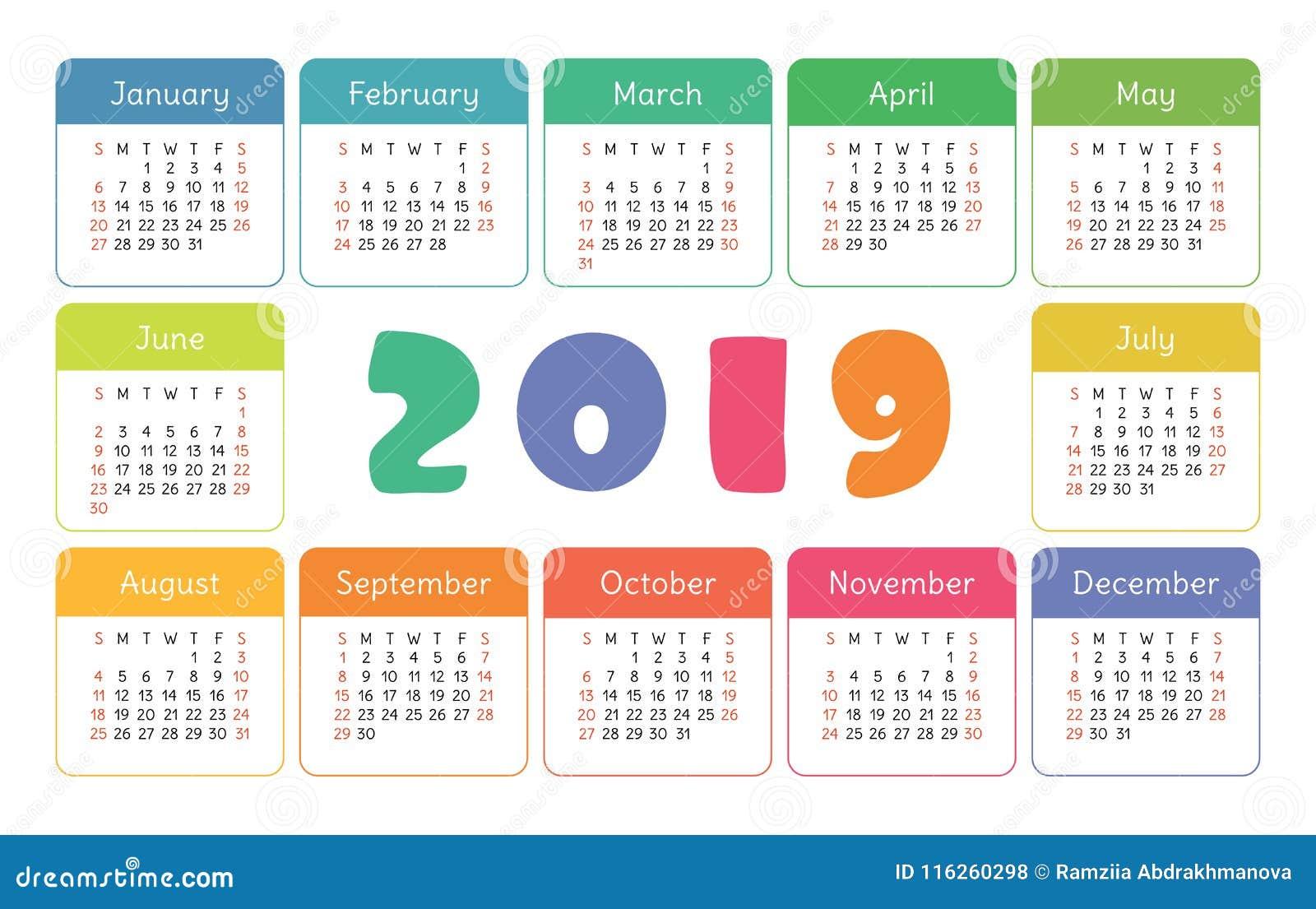 Kieszeniowy kalendarz 2019 Podstawowy prosty szablon Na Niedziela tydzień początek Kolorowy śmieszny, dzieciaka ` s karta