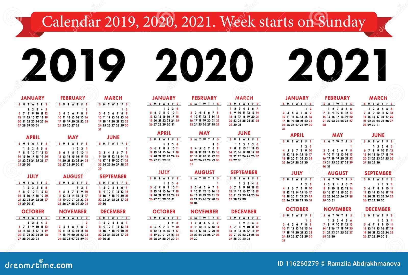 Kieszeniowy kalendarz 2019, 2020, 2021 set Podstawowy prosty szablon Na Niedziela tydzień początek