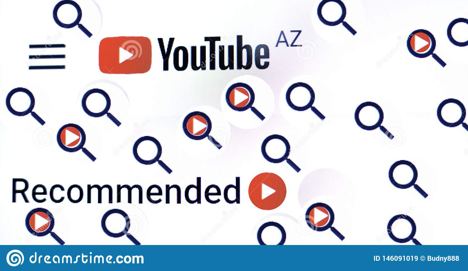Kiev Ucr?nia 04 26 2019: Logotipo de Youtube, v?deo de acolhimento video de Youtube da marca registrada Aprecie v?deos e m?sica e