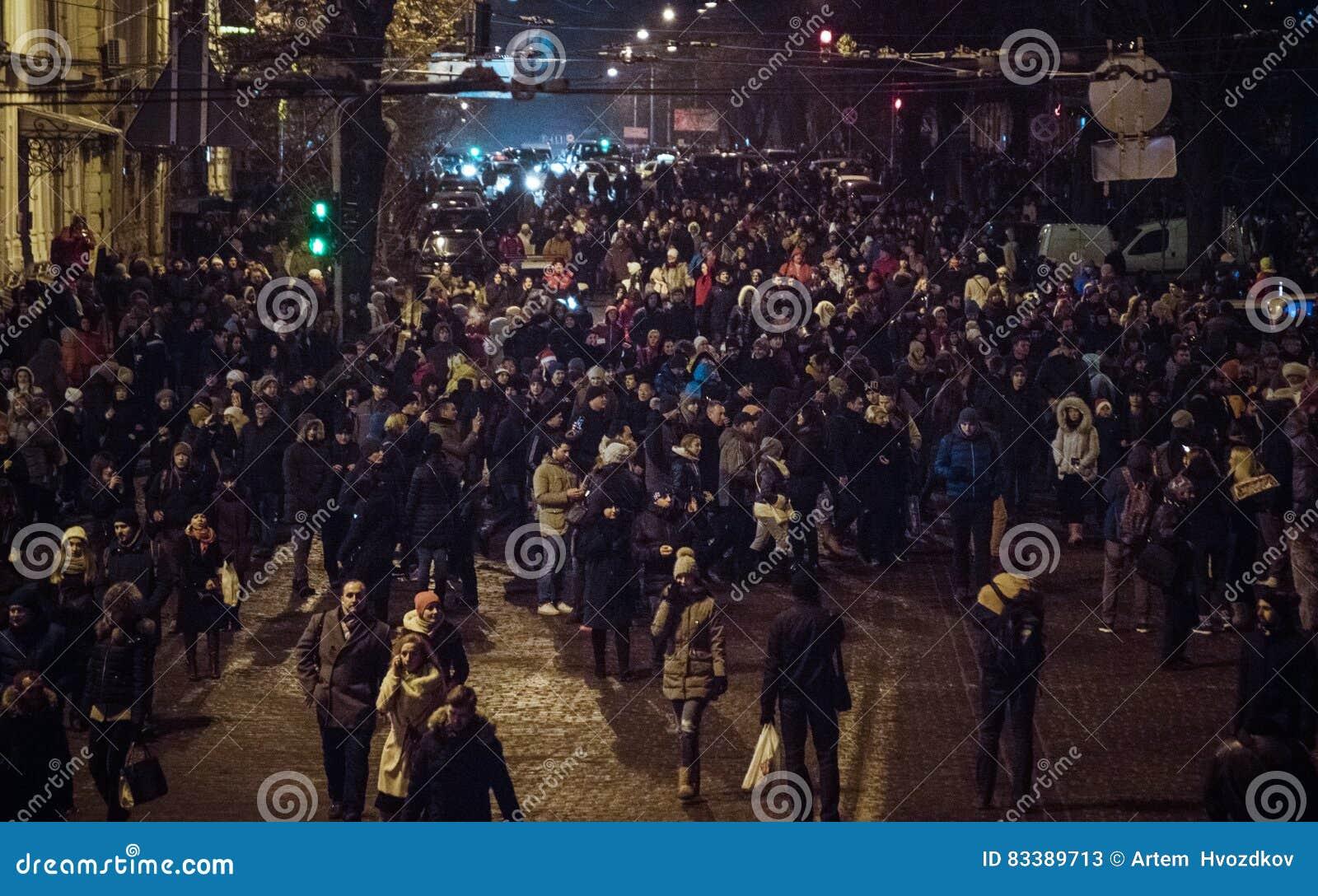 Kiev, Ucraina - gennaio 1, 2017: Ploscha di Sofievska: la gente che celebra nuovo anno